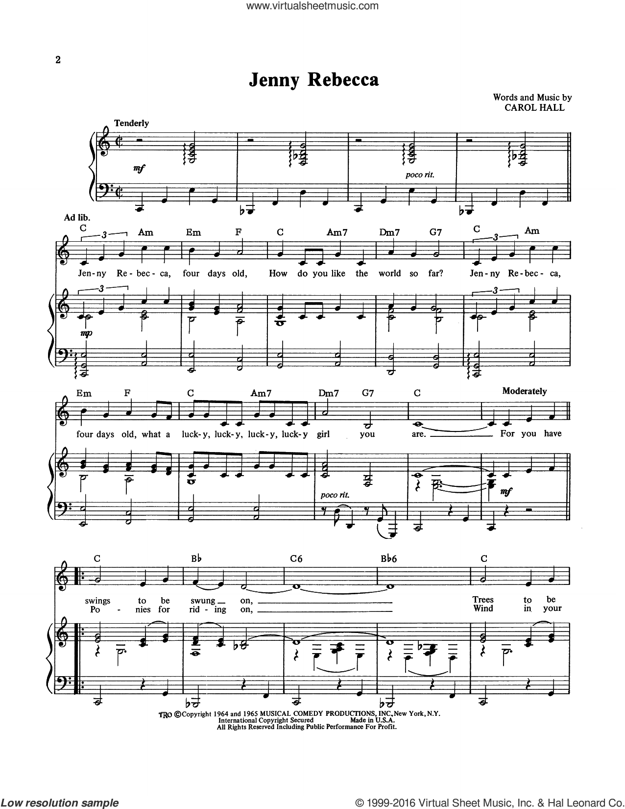 Jenny Rebecca sheet music for voice, piano or guitar by Carol Hall. Score Image Preview.