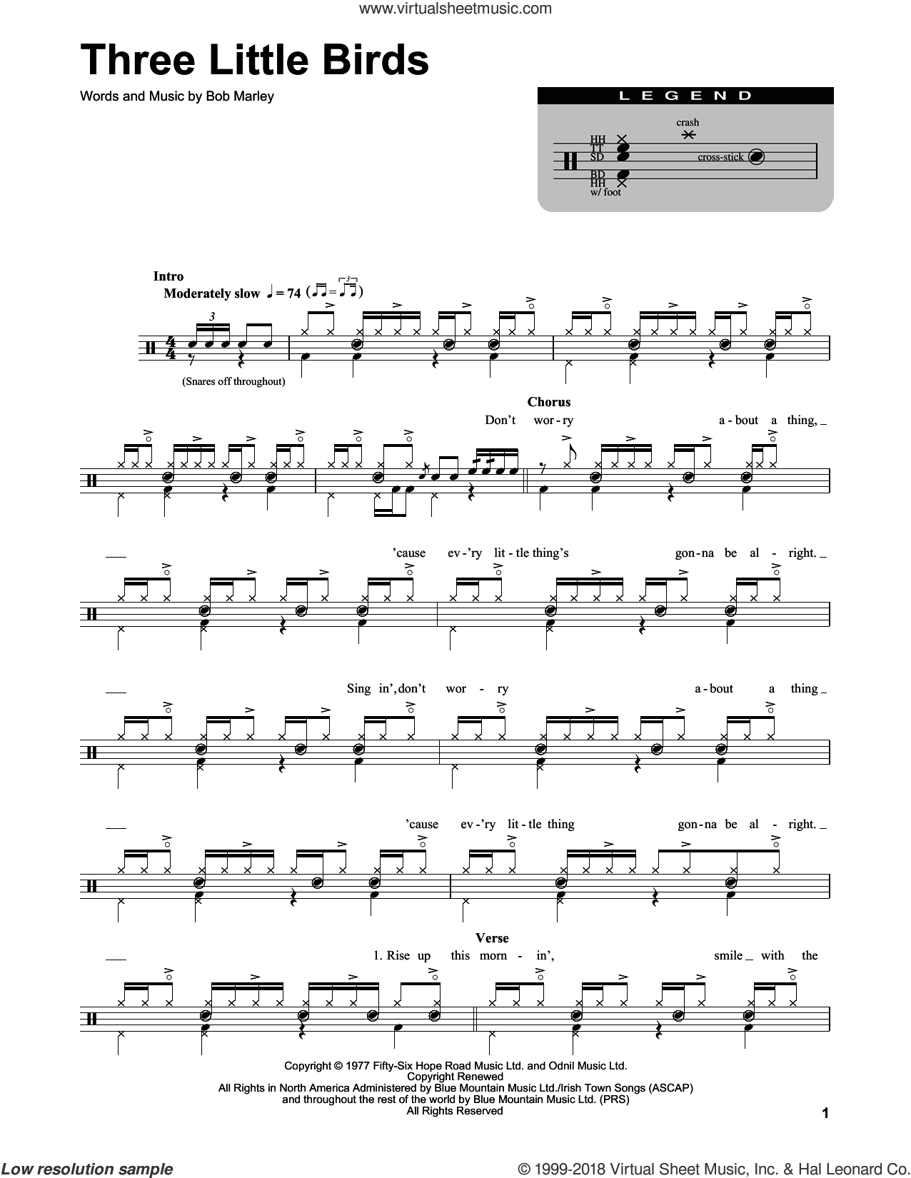 Marley Three Little Birds Sheet Music For Drums Pdf