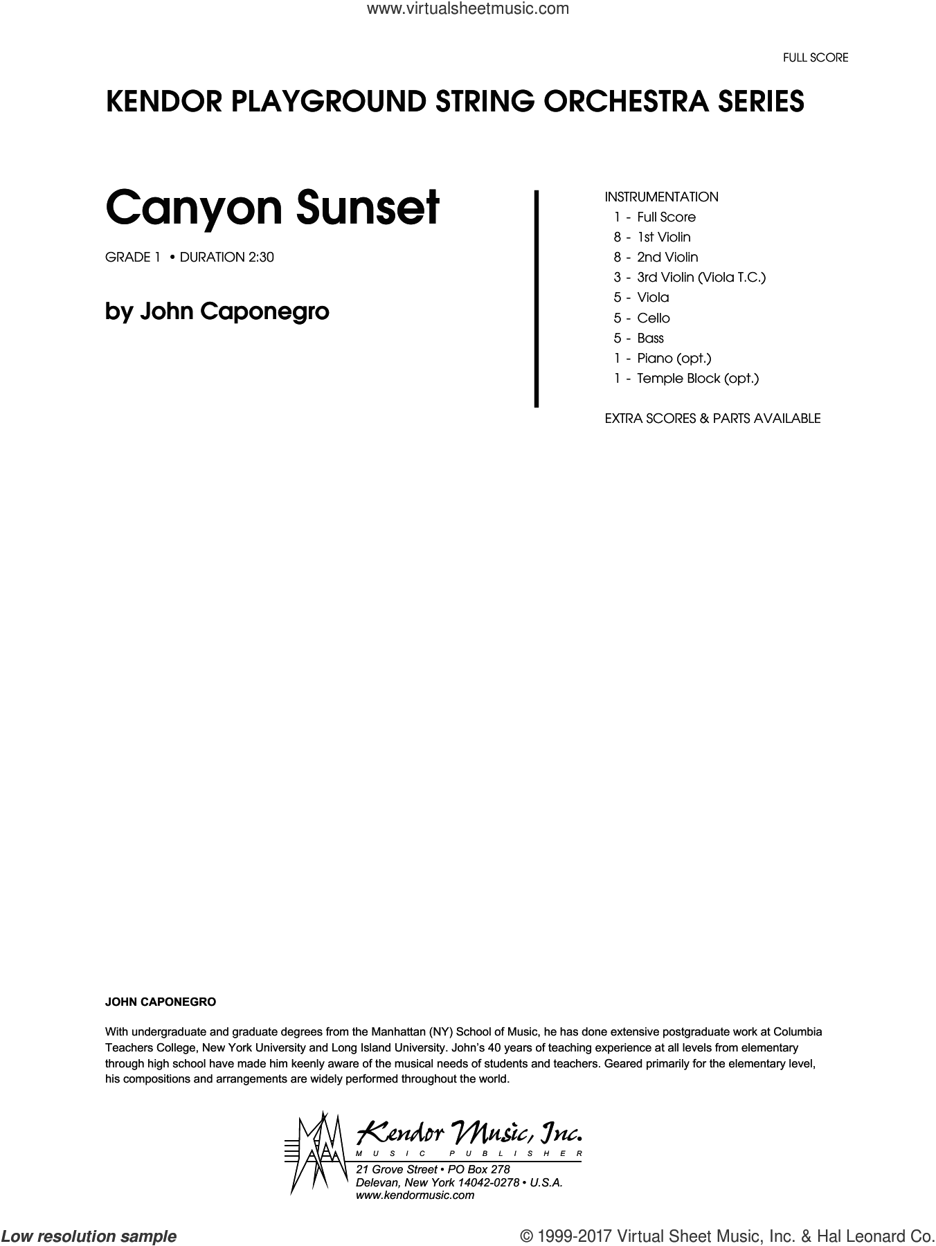 Canyon Sunset (COMPLETE) sheet music for orchestra by John Caponegro, intermediate. Score Image Preview.
