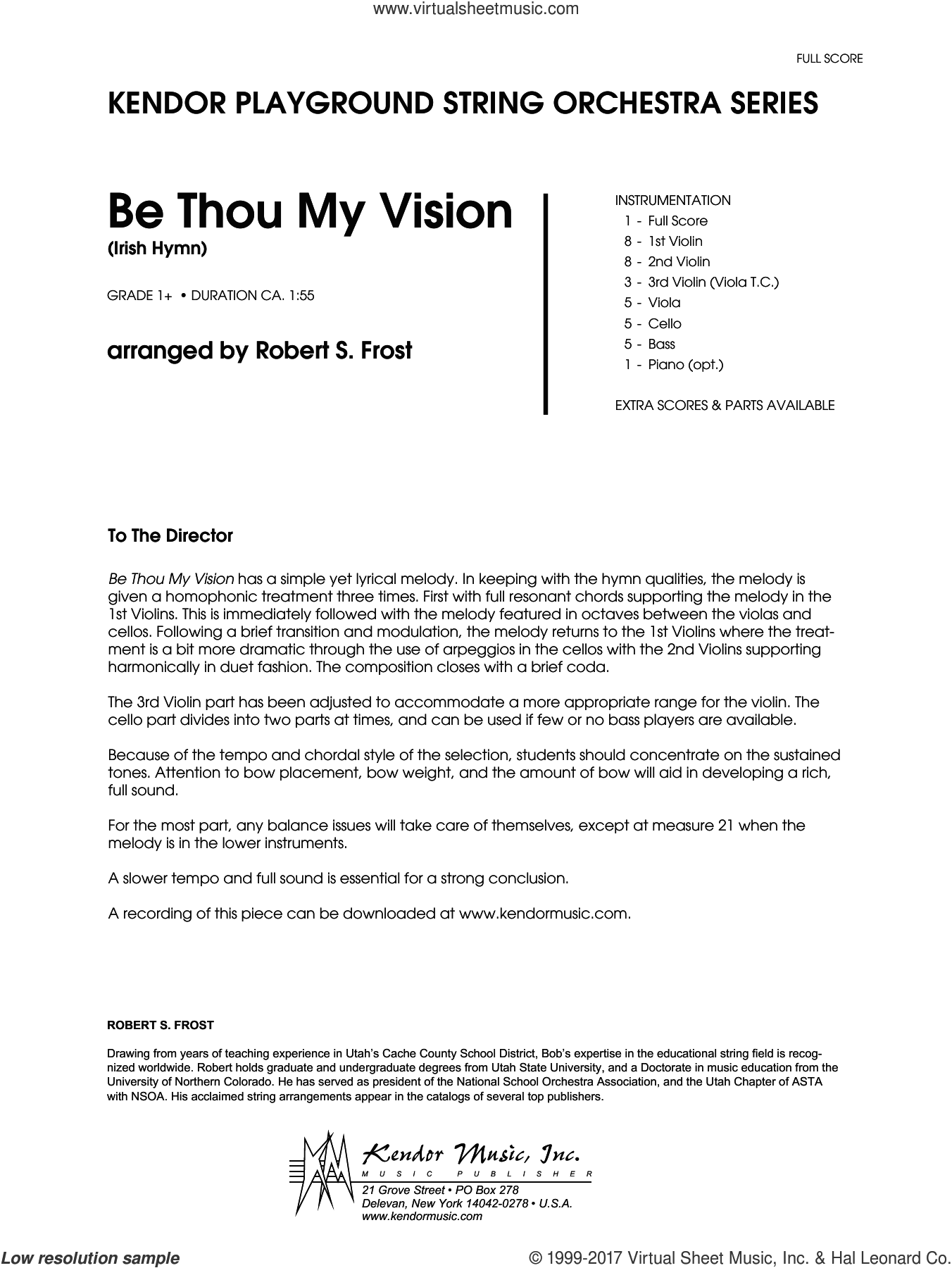 Be Thou My Vision (Irish Hymn) (COMPLETE) sheet music for orchestra by Robert S. Frost and Miscellaneous, intermediate skill level