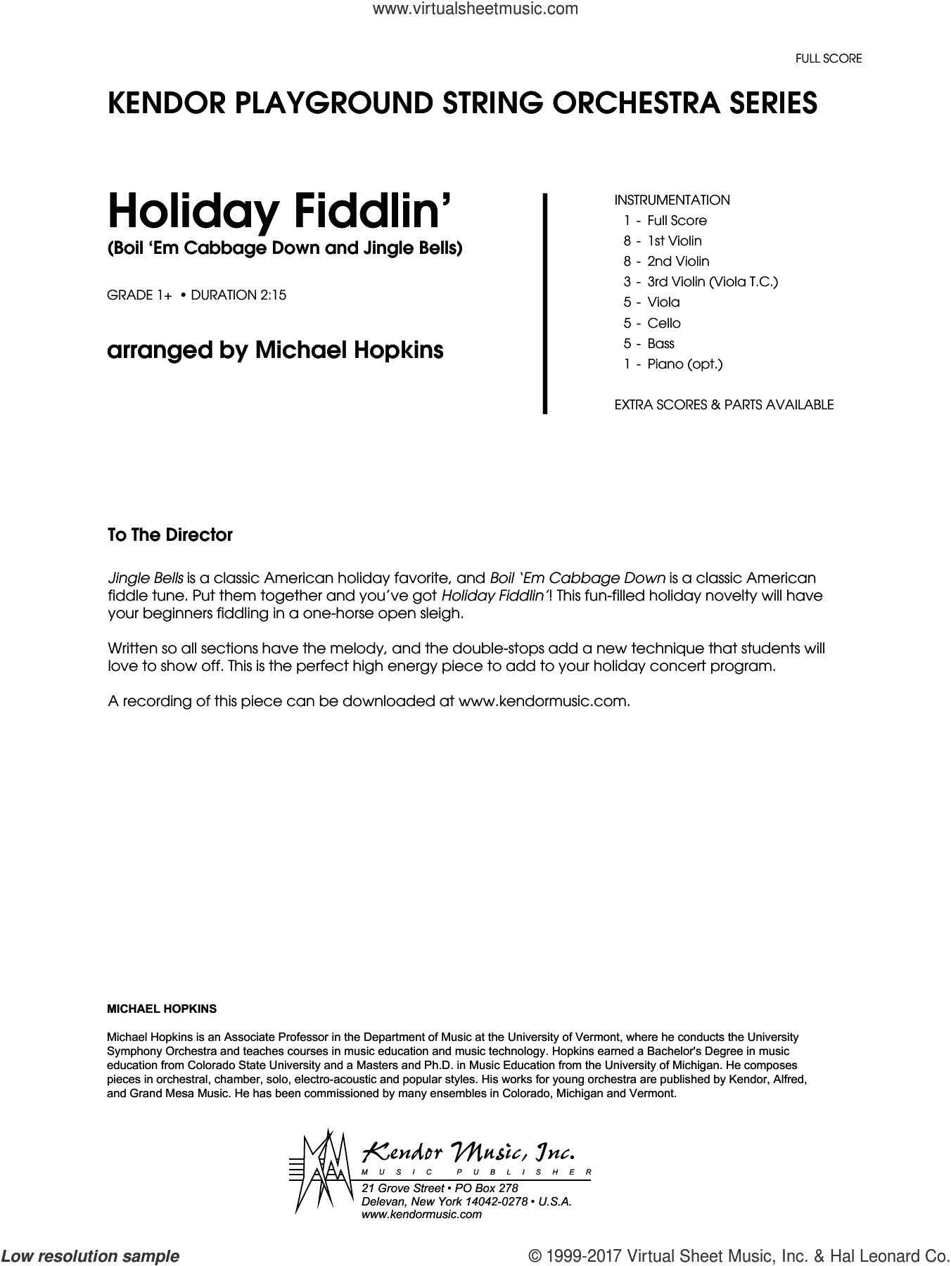 Holiday Fiddlin' (Boil 'Em Cabbage Down and Jingle Bells) (COMPLETE) sheet music for orchestra by Michael Hopkins, intermediate. Score Image Preview.