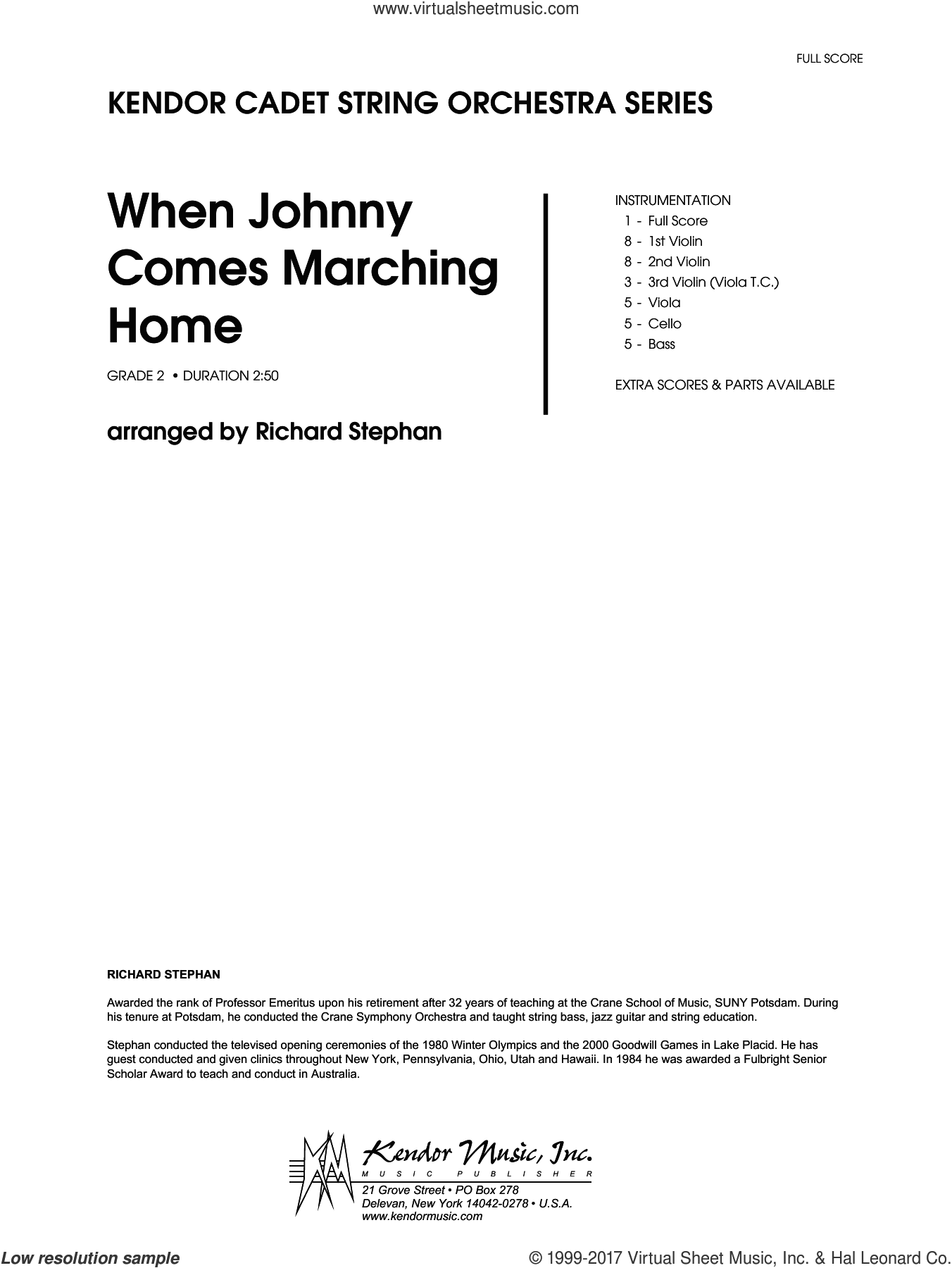 When Johnny Comes Marching Home (COMPLETE) sheet music for orchestra by Richard Stephan and Miscellaneous, intermediate skill level