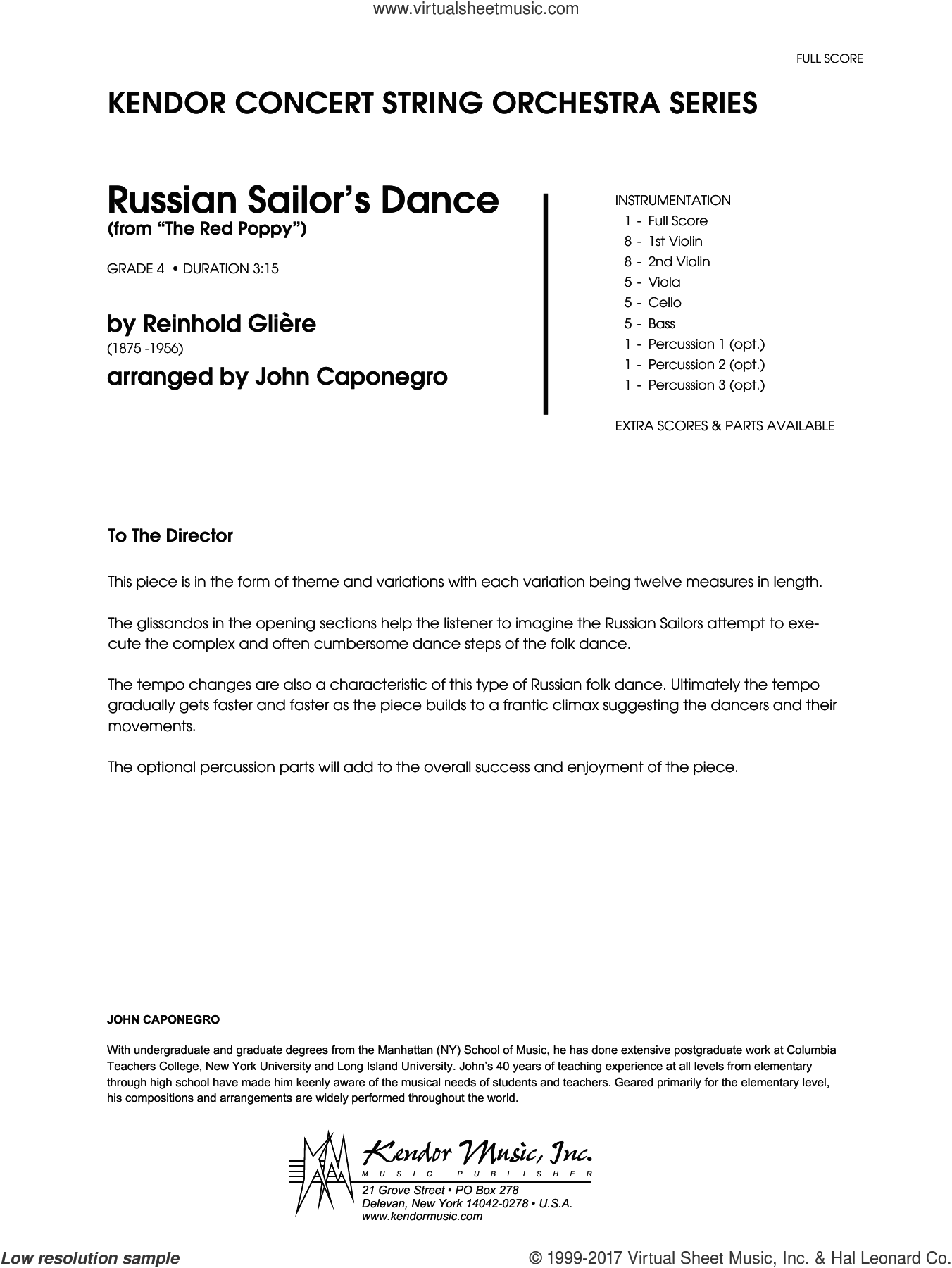 Russian Sailor's Dance (from The Red Poppy) (COMPLETE) sheet music for orchestra by John Caponegro, intermediate. Score Image Preview.