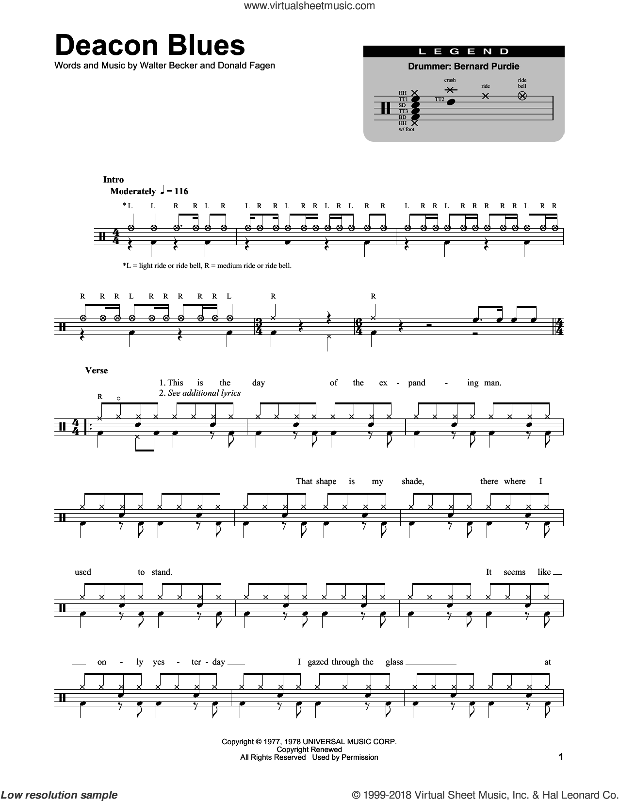 Deacon Blues sheet music for drums by Walter Becker and Donald Fagen. Score Image Preview.