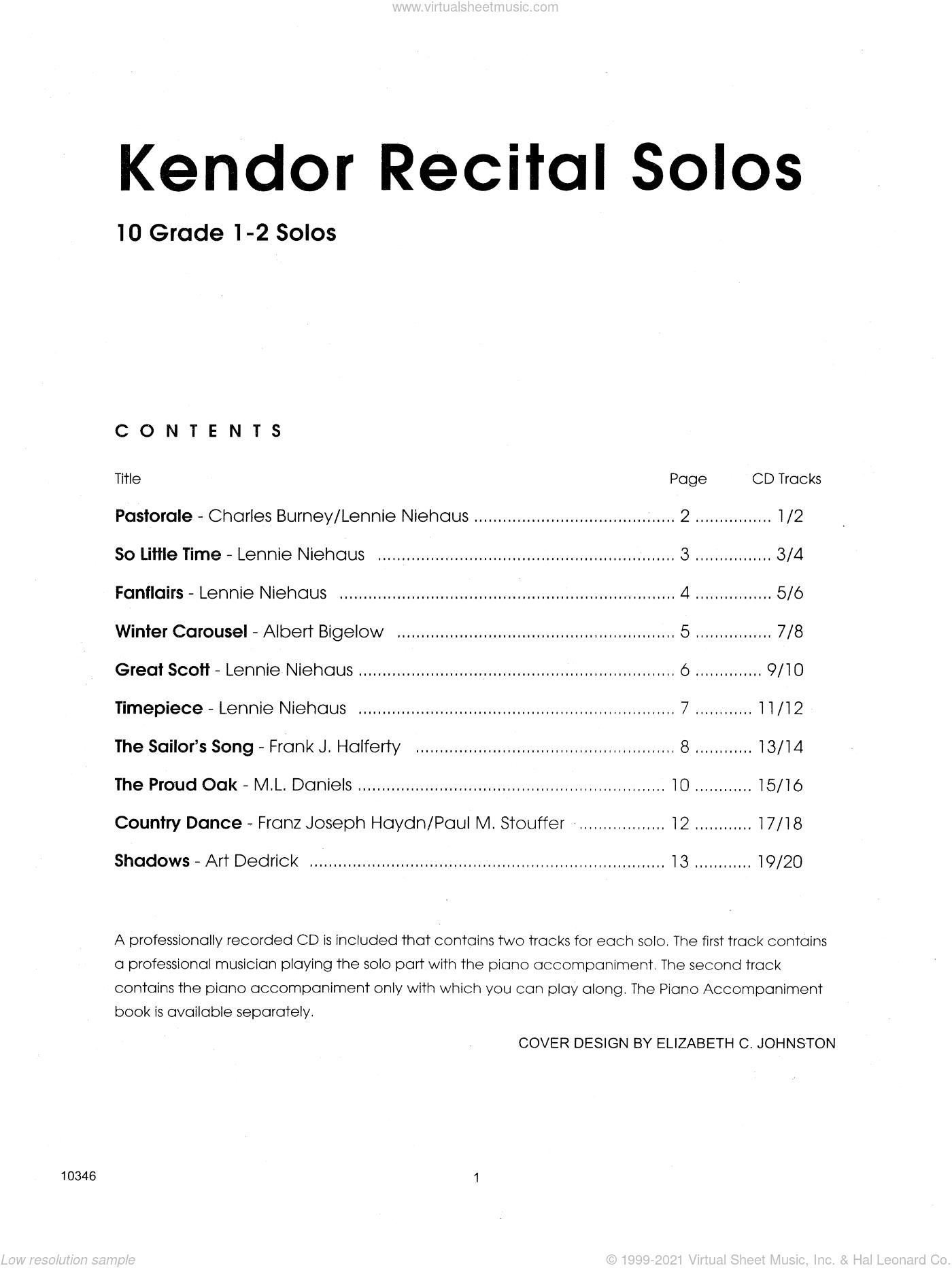 Kendor Recital Solos - Baritone B.C. - Solo Book sheet music for baritone B.C. solo, intermediate skill level