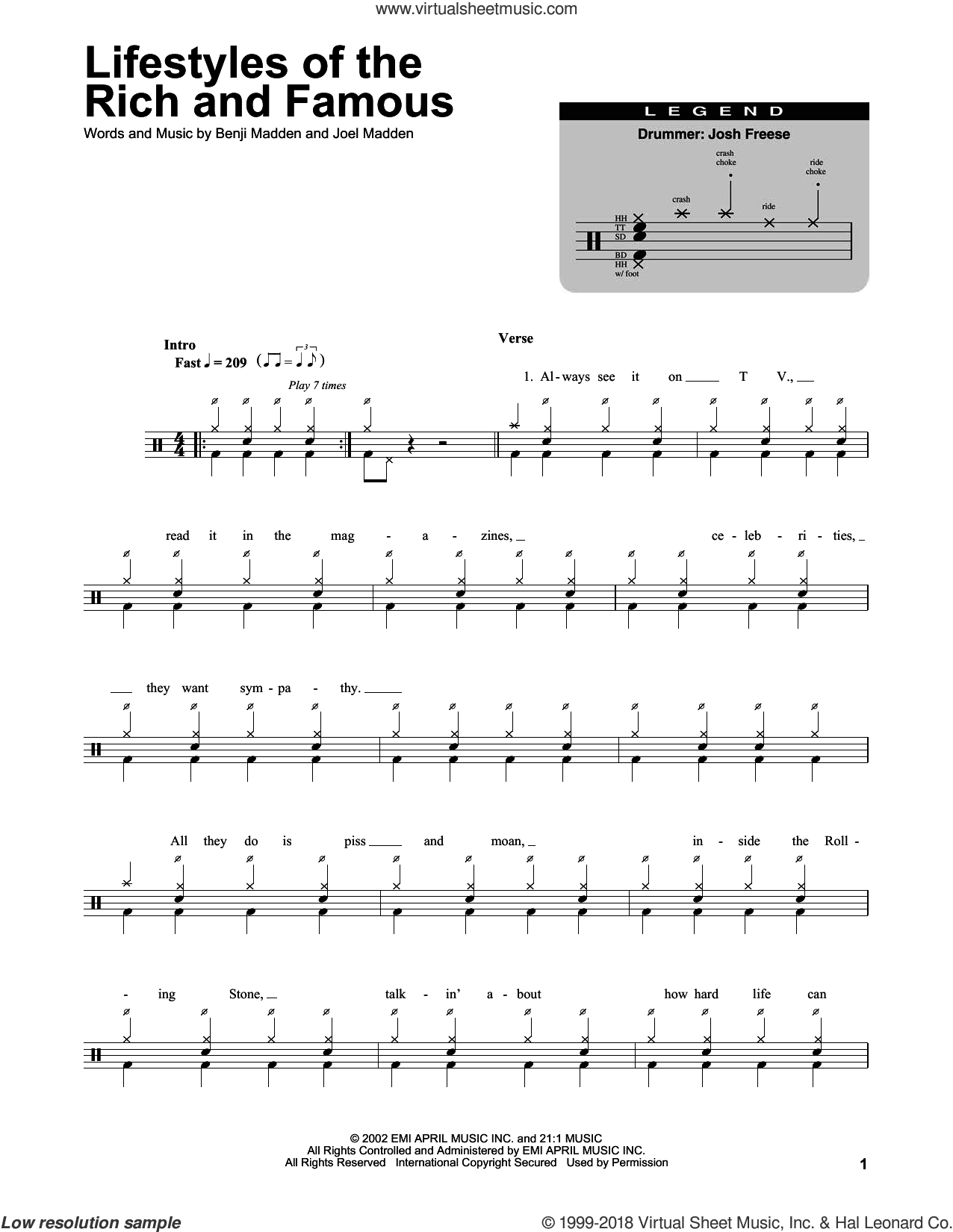 Lifestyles Of The Rich And Famous sheet music for drums by Joel Madden and Benji Madden. Score Image Preview.
