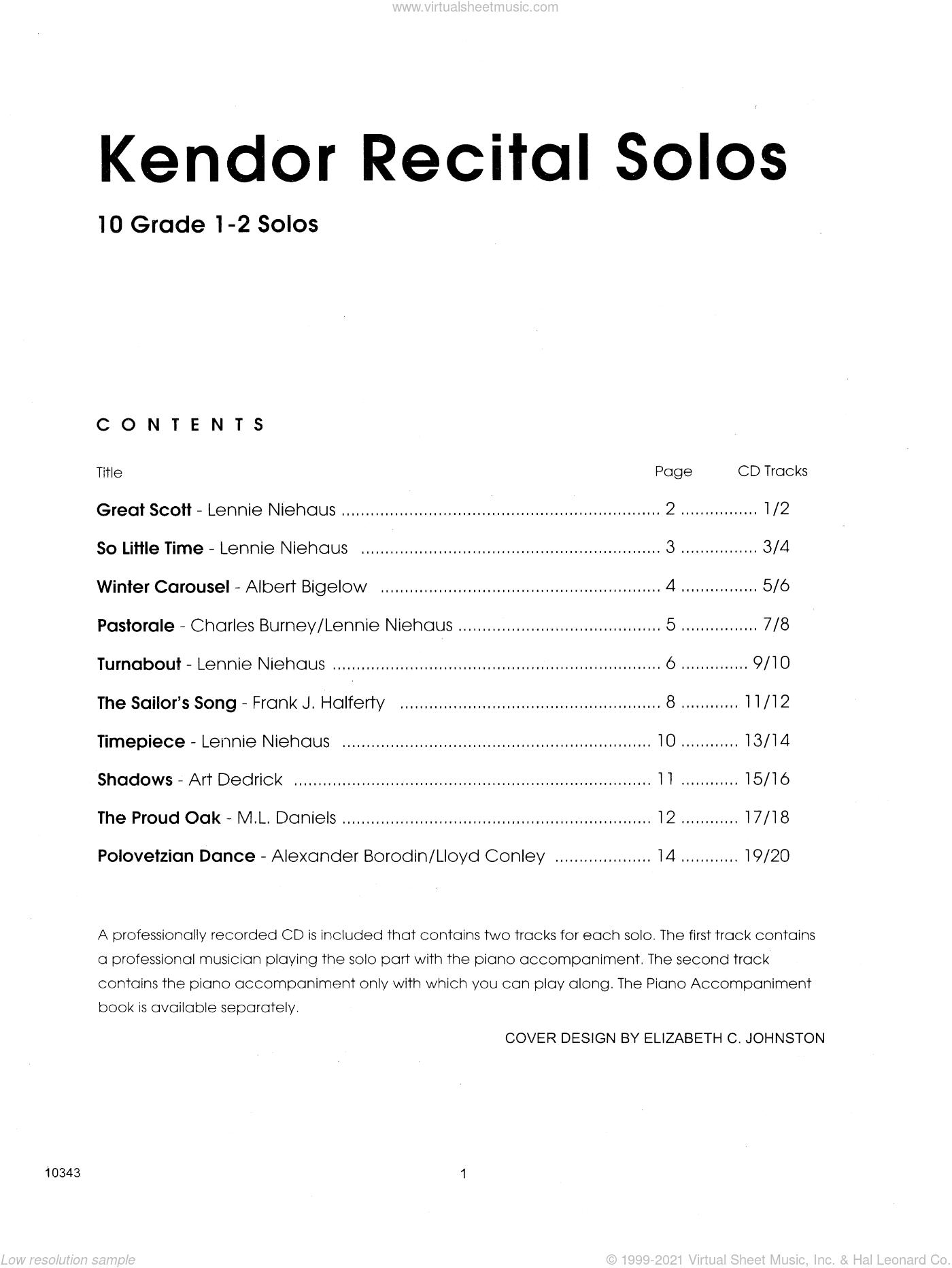 Kendor Recital Solos - Trombone - Solo Book sheet music for trombone solo, intermediate skill level