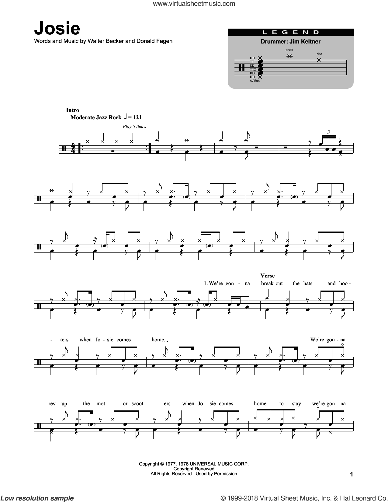 Josie sheet music for drums by Walter Becker and Donald Fagen. Score Image Preview.