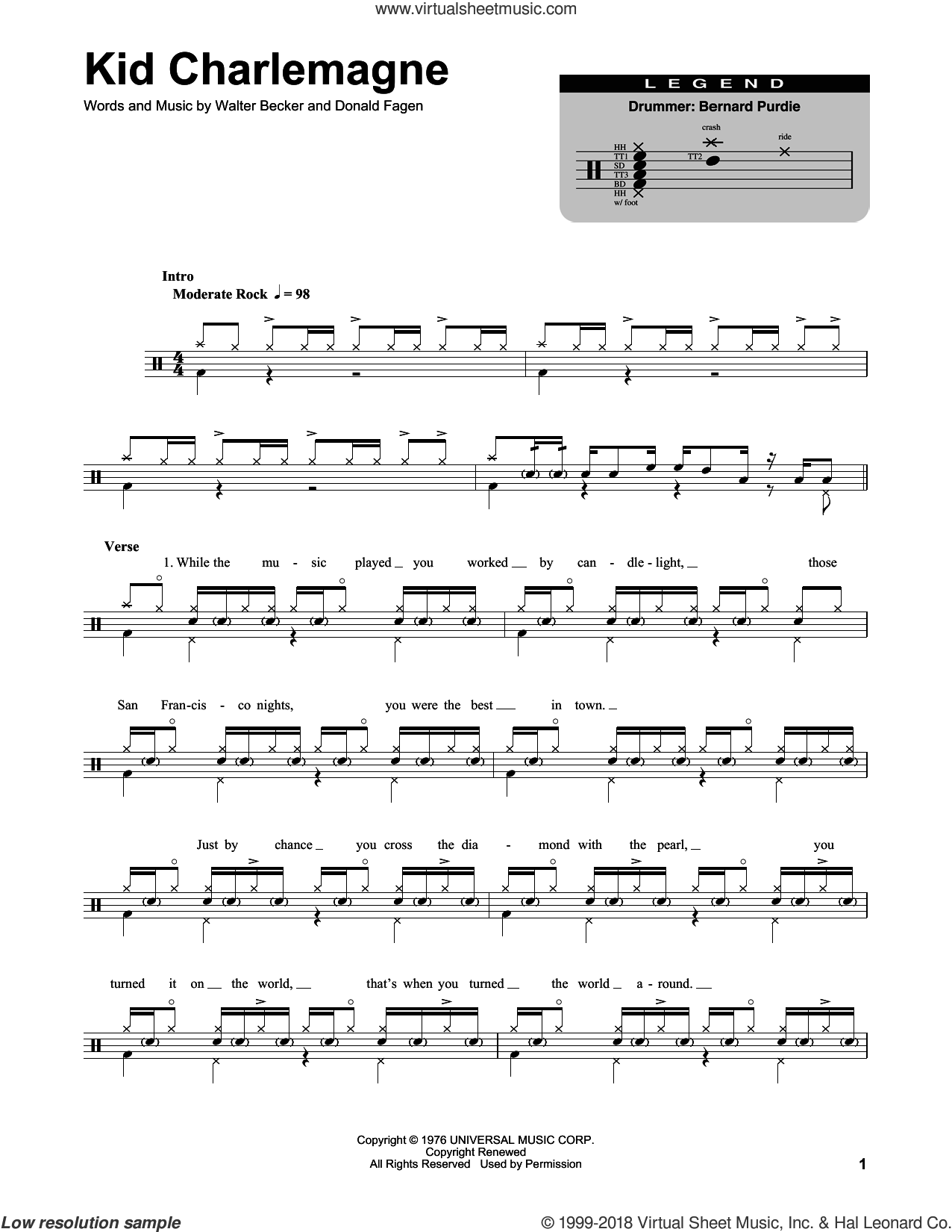 Kid Charlemagne sheet music for drums by Steely Dan, Donald Fagen and Walter Becker, intermediate skill level