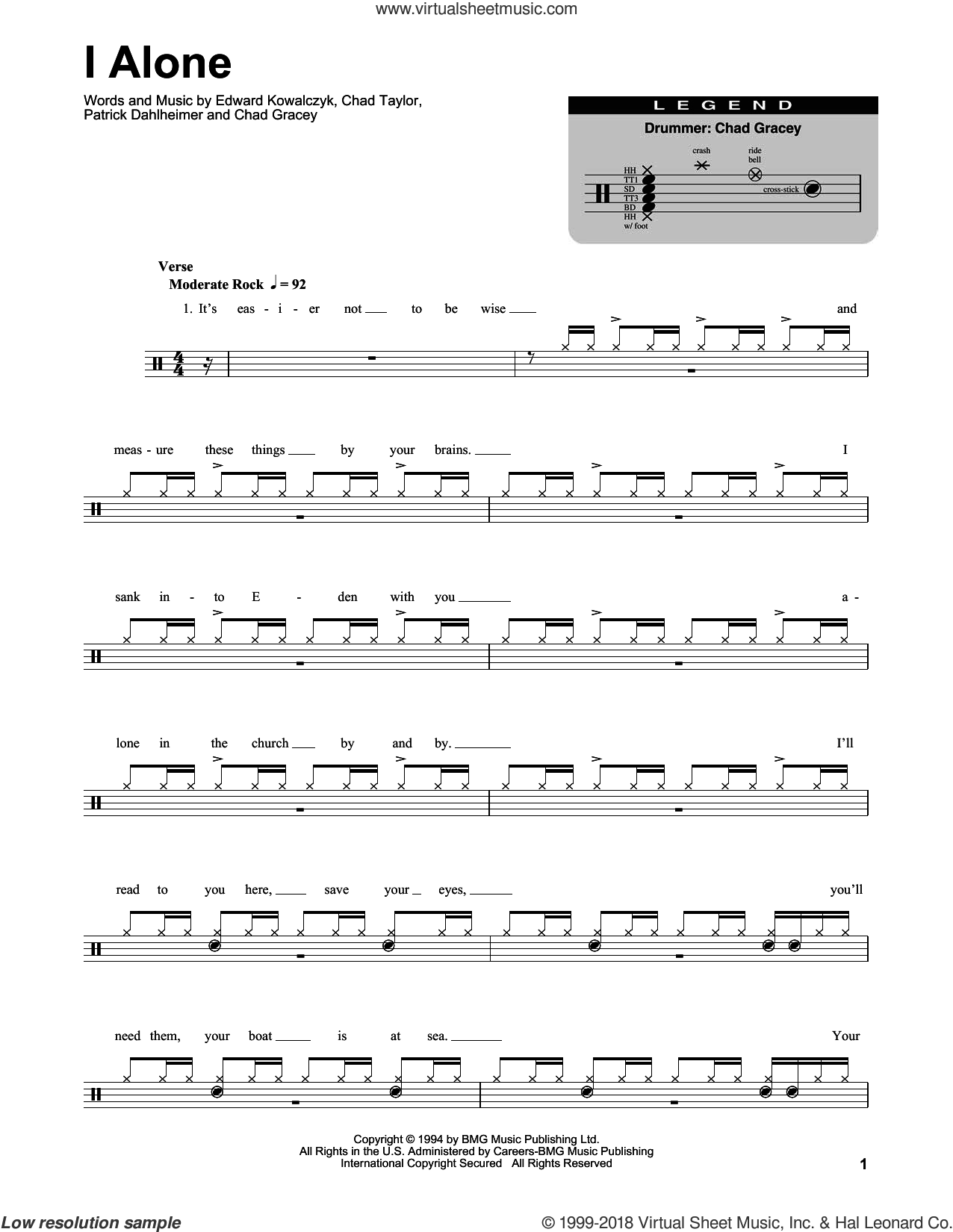 I Alone sheet music for drums by Patrick Dahlheimer, Live, Chad Taylor and Edward Kowalczyk. Score Image Preview.