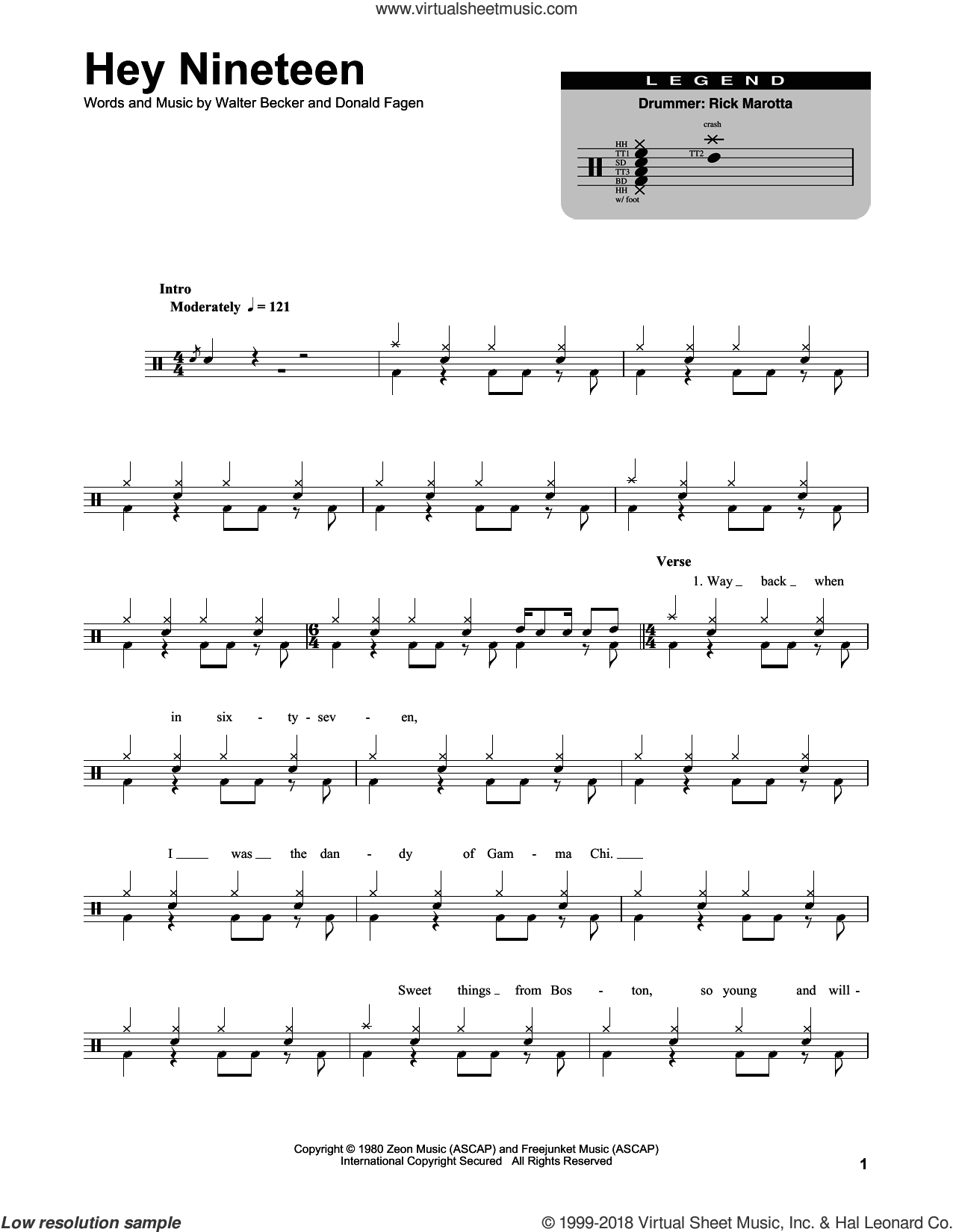 Hey Nineteen sheet music for drums by Steely Dan and Donald Fagen. Score Image Preview.