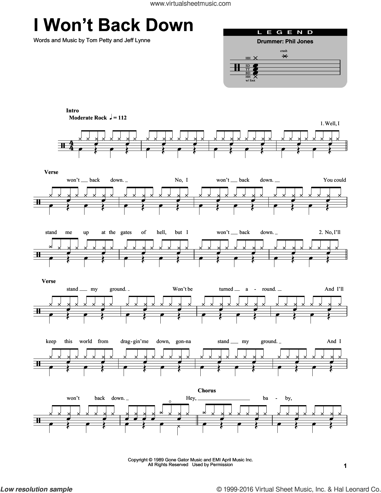 I Won't Back Down sheet music for drums by Jeff Lynne