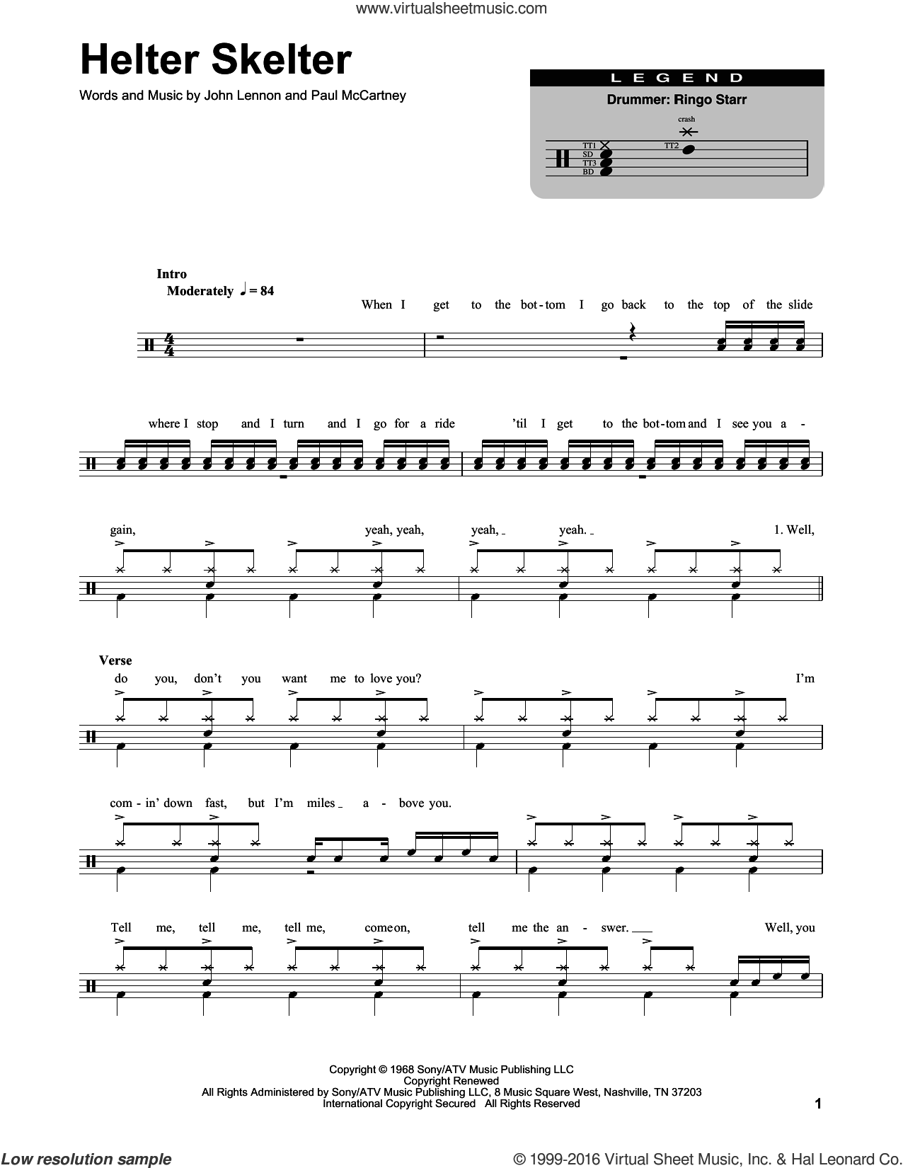 Helter Skelter sheet music for drums by The Beatles, John Lennon and Paul McCartney, intermediate. Score Image Preview.