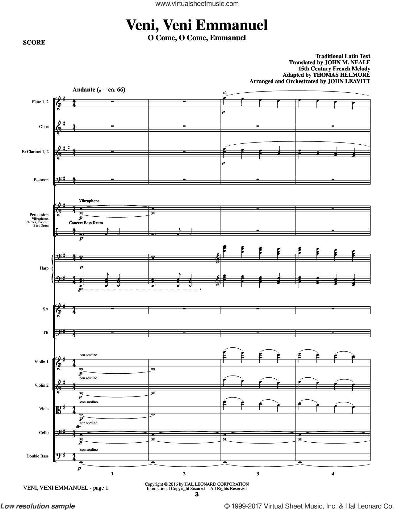 What Sweeter Music (a Cantata For Christmas) (COMPLETE) sheet music for orchestra/band by John Leavitt and Robert Herrick, intermediate skill level