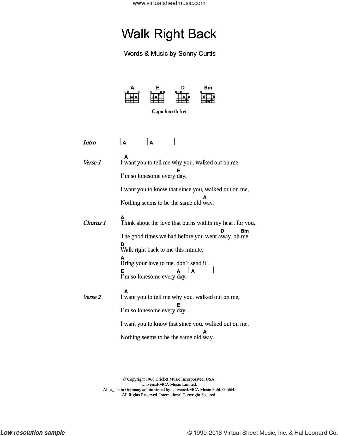 The Everly Brothers Walk Right Back Sheet Music For Guitar Chords