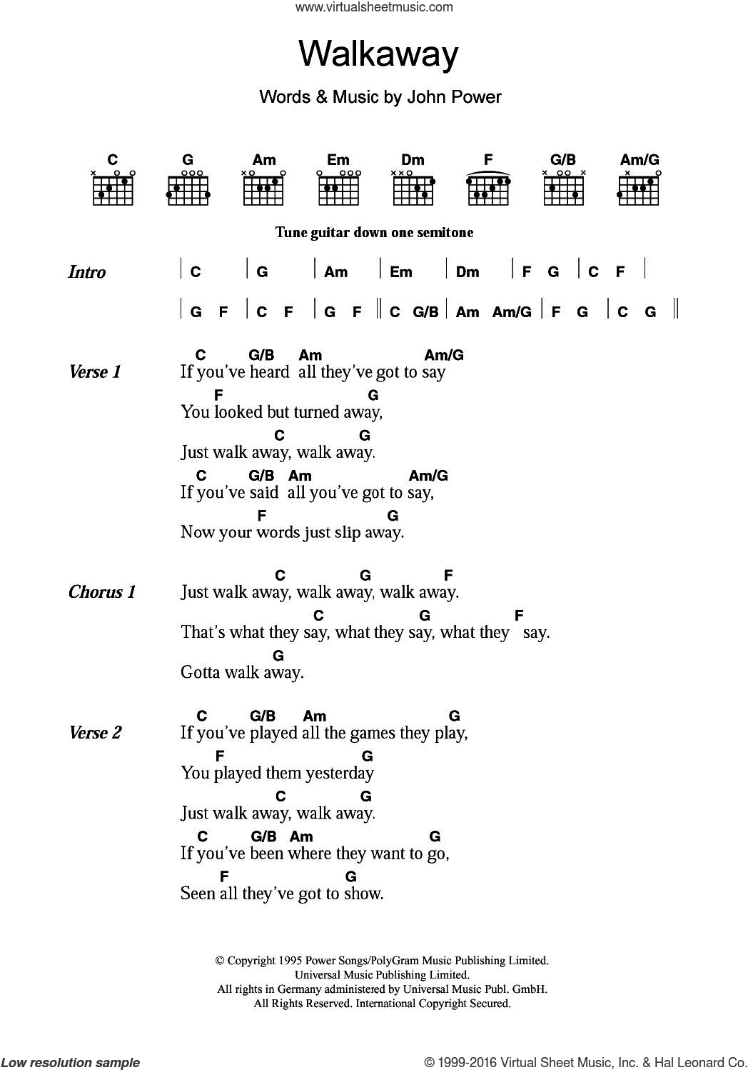 Walkaway sheet music for guitar (chords) by John Power. Score Image Preview.