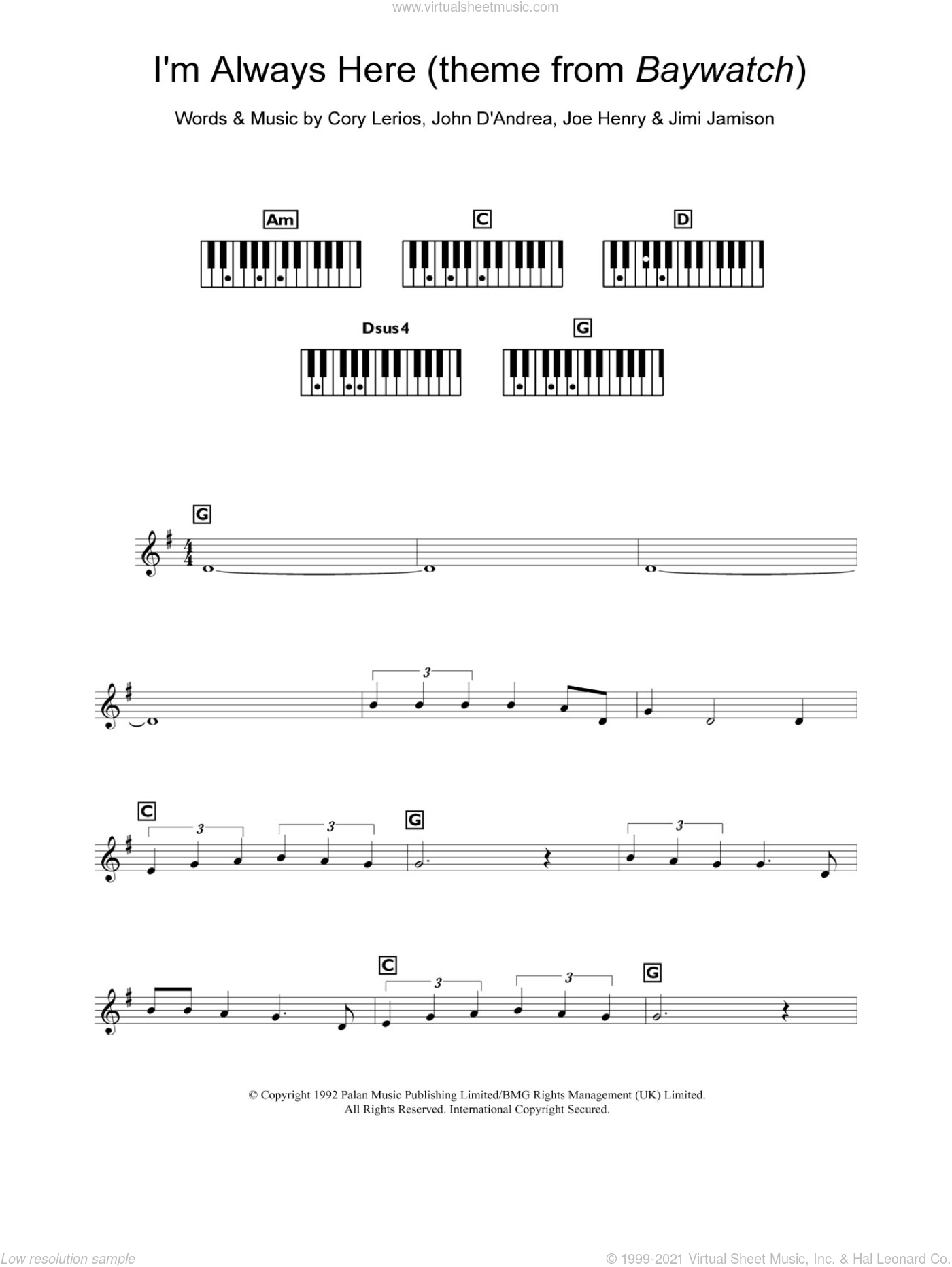 I'm Always Here (theme from Baywatch) sheet music for piano solo (chords, lyrics, melody) by John D'Andrea and Joe Henry. Score Image Preview.