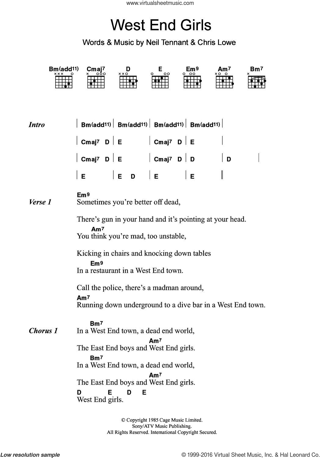 West End Girls sheet music for guitar (chords) by Pet Shop Boys, Chris Lowe and Neil Tennant, intermediate skill level