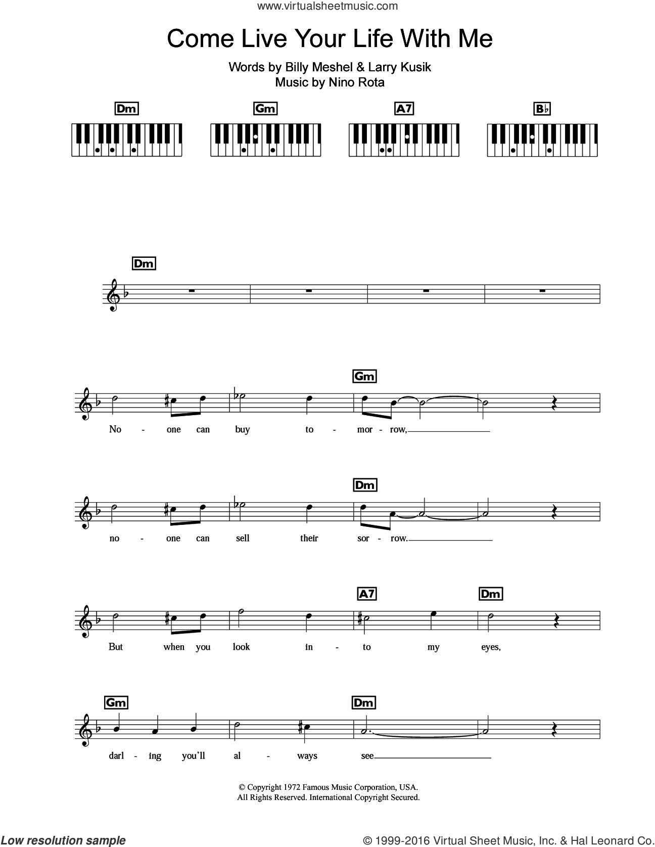 Come Live Your Life With Me sheet music for piano solo (chords, lyrics, melody) by Peter Cincotti and Nino Rota. Score Image Preview.