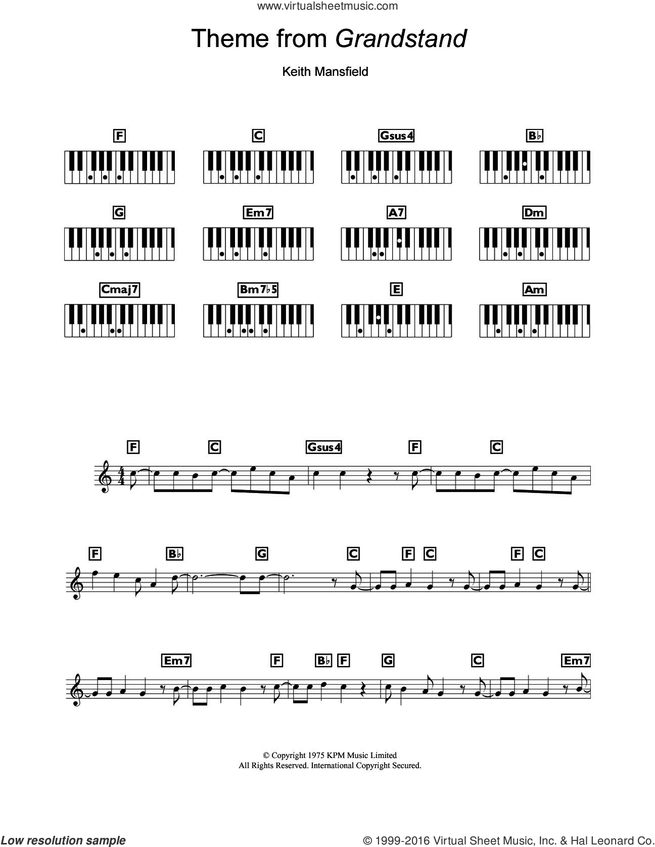 Theme from Grandstand sheet music for piano solo (chords, lyrics, melody) by Keith Mansfield. Score Image Preview.