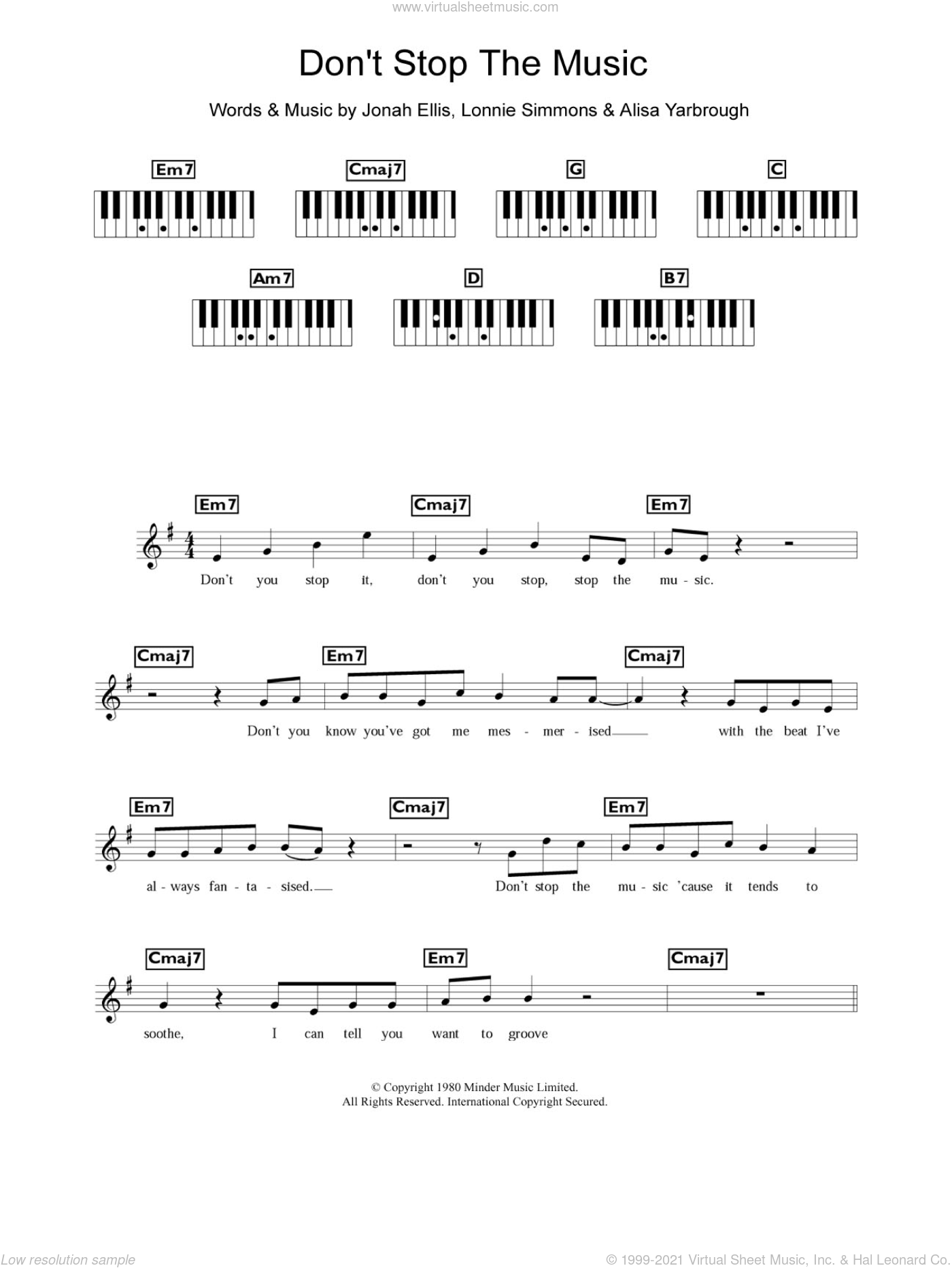 Don't Stop The Music sheet music for piano solo (chords, lyrics, melody) by Yarbrough and Peoples, Alisa Yarbrough, Jonah Ellis and Lonnie Simmons, intermediate piano (chords, lyrics, melody). Score Image Preview.