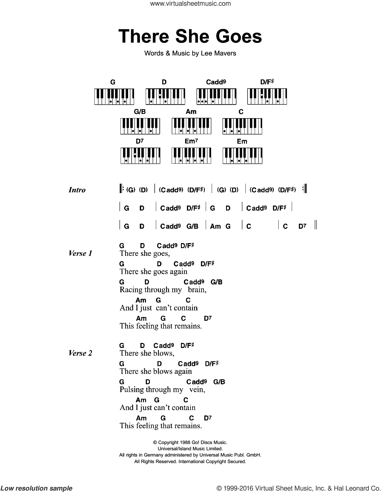 There She Goes sheet music for piano solo (chords, lyrics, melody) by The La's and Lee Mavers, intermediate piano (chords, lyrics, melody)