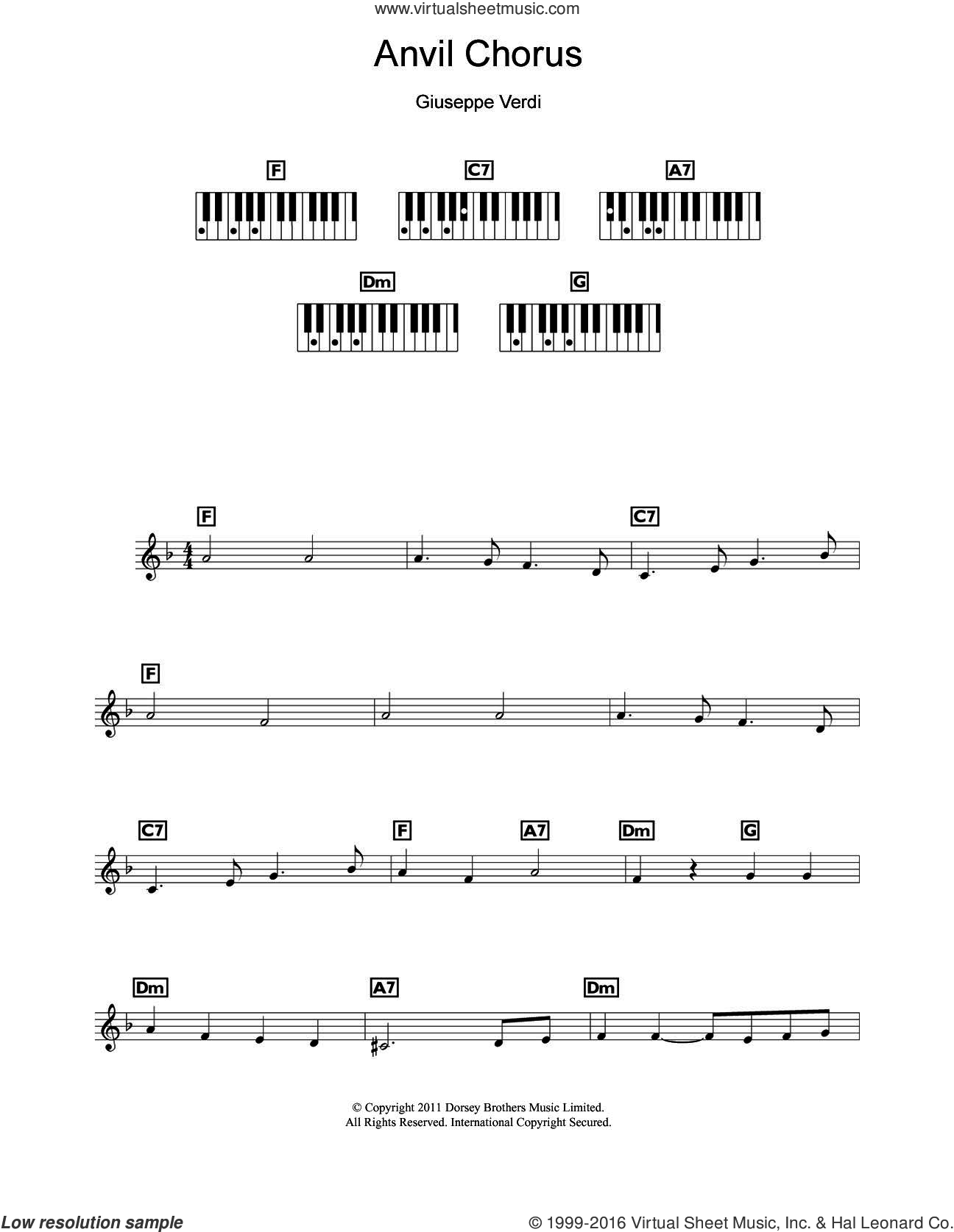Anvil Chorus (from Il Trovatore) sheet music for piano solo (chords, lyrics, melody) by Giuseppe Verdi, classical score, intermediate piano (chords, lyrics, melody)