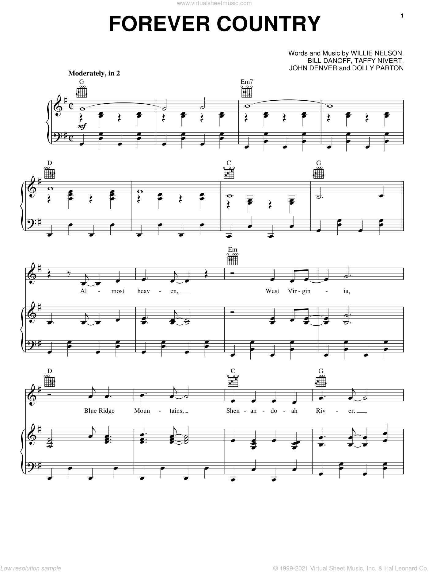 Forever Country sheet music for voice, piano or guitar by Artists of Then, Now & Forever, Bill Danoff, Dolly Parton, John Denver, Taffy Nivert and Willie Nelson. Score Image Preview.