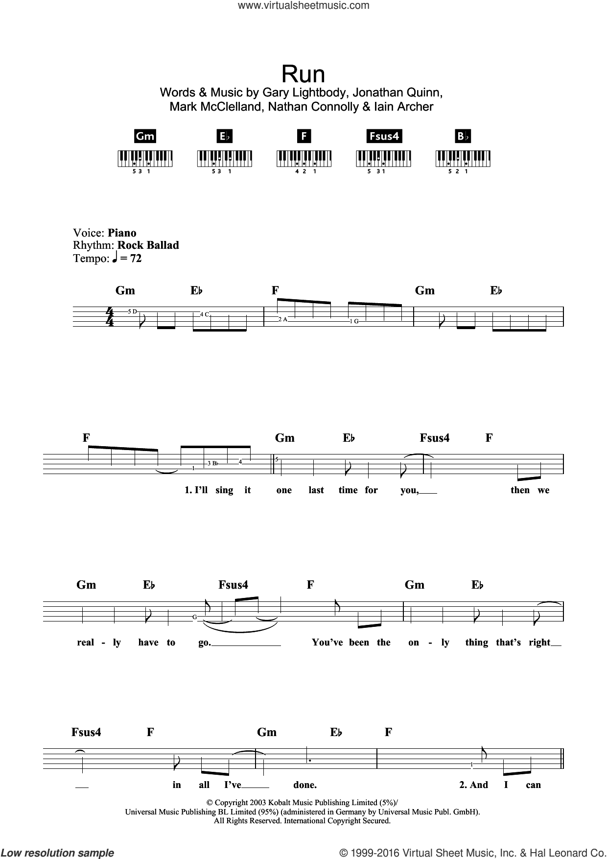 Run sheet music for piano solo (chords, lyrics, melody) by Leona Lewis, Gary Lightbody, Iain Archer, Jonathan Quinn, Mark McClelland and Nathan Connolly, intermediate piano (chords, lyrics, melody)