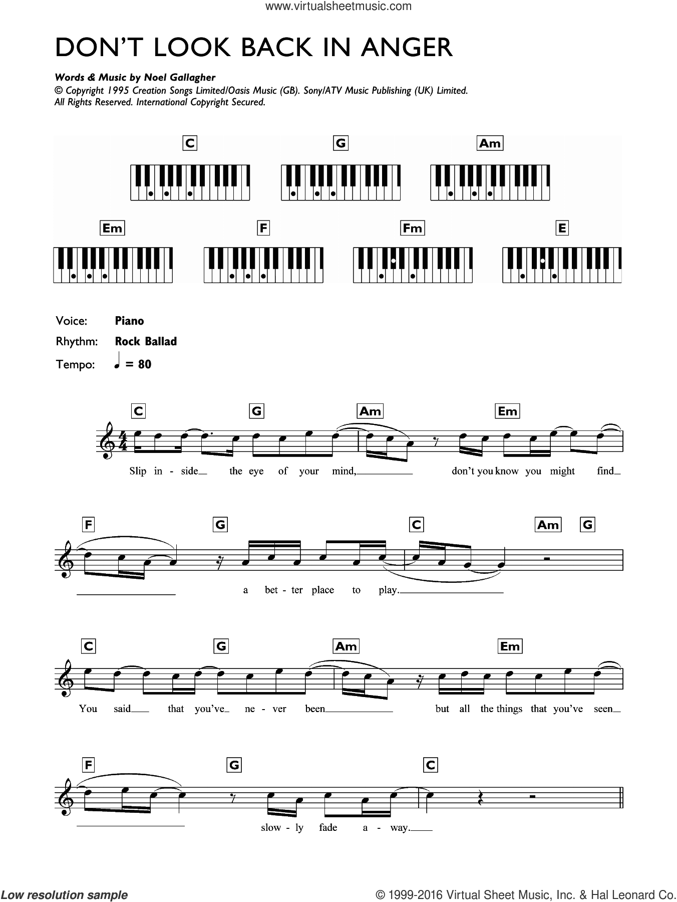Don't Look Back In Anger sheet music for piano solo (chords, lyrics, melody) by Oasis and Noel Gallagher, intermediate piano (chords, lyrics, melody). Score Image Preview.