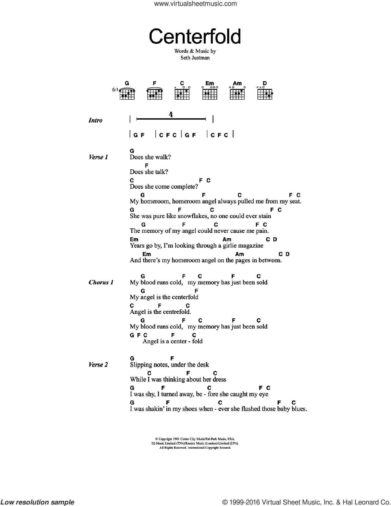 Centerfold sheet music for guitar (chords) by The J. Geils Band and Seth Justman, intermediate skill level