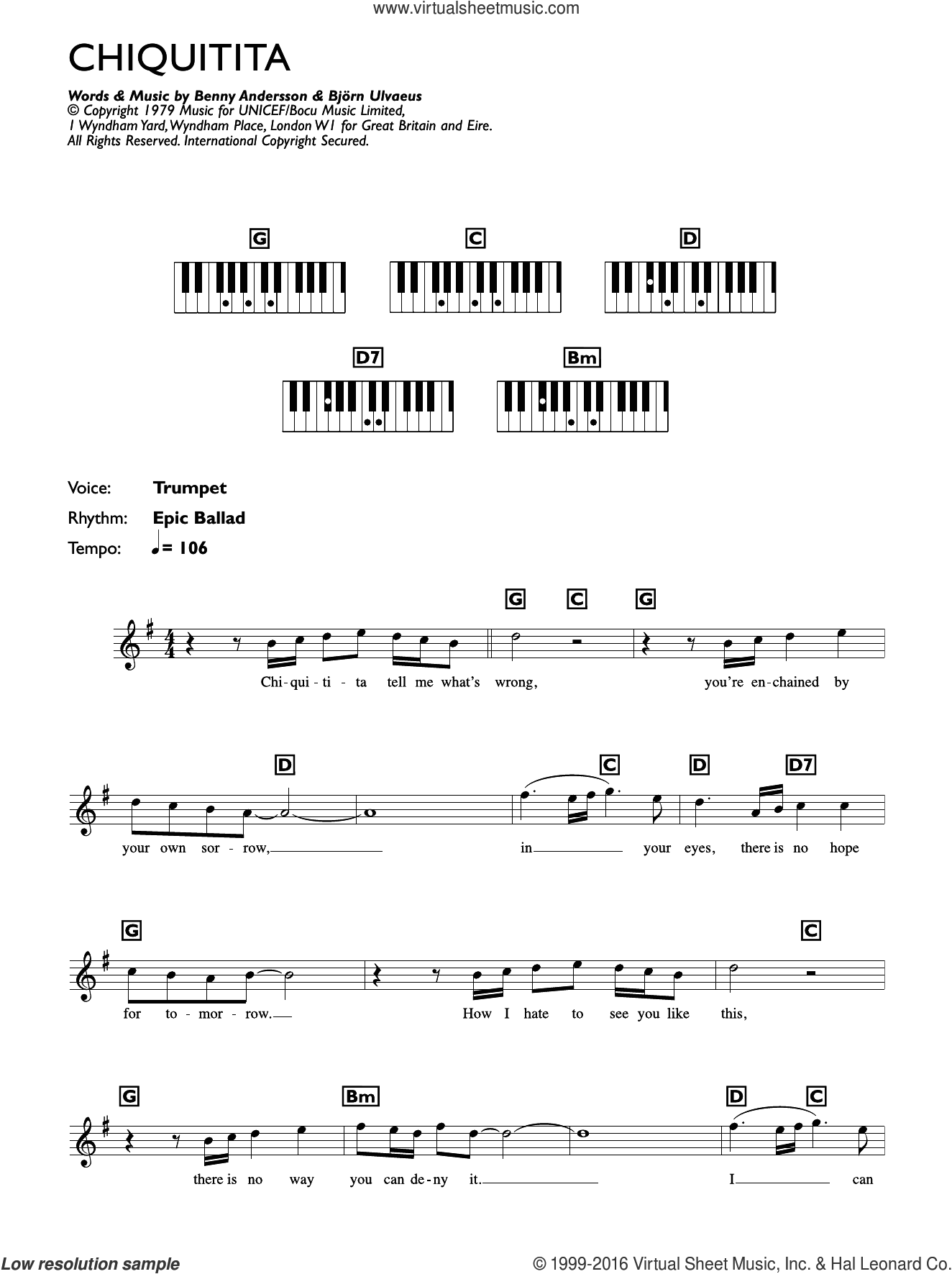 Chiquitita sheet music for piano solo (chords, lyrics, melody) by ABBA, Benny Andersson and Bjorn Ulvaeus, intermediate piano (chords, lyrics, melody)