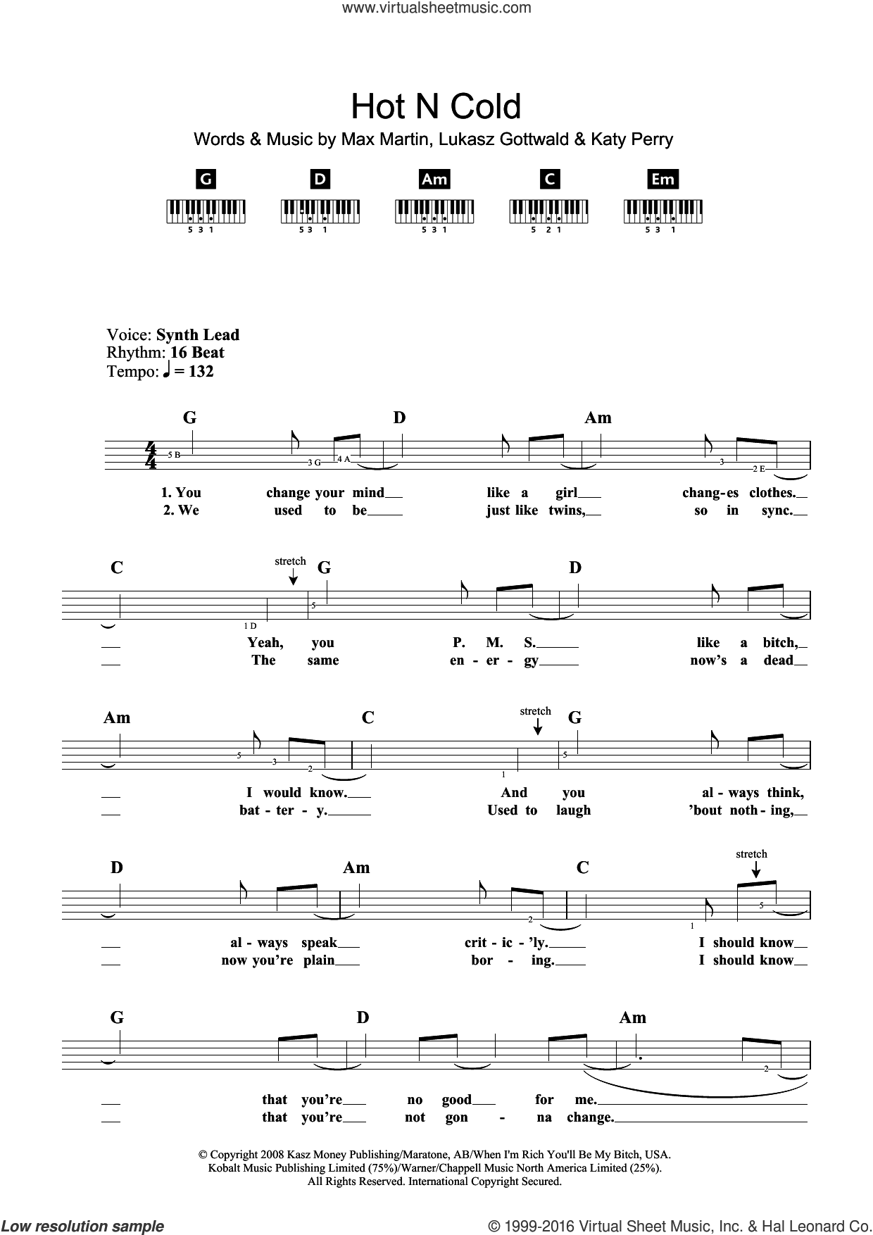 Hot N Cold sheet music for piano solo (chords, lyrics, melody) by Max Martin, Katy Perry and Lukasz Gottwald. Score Image Preview.
