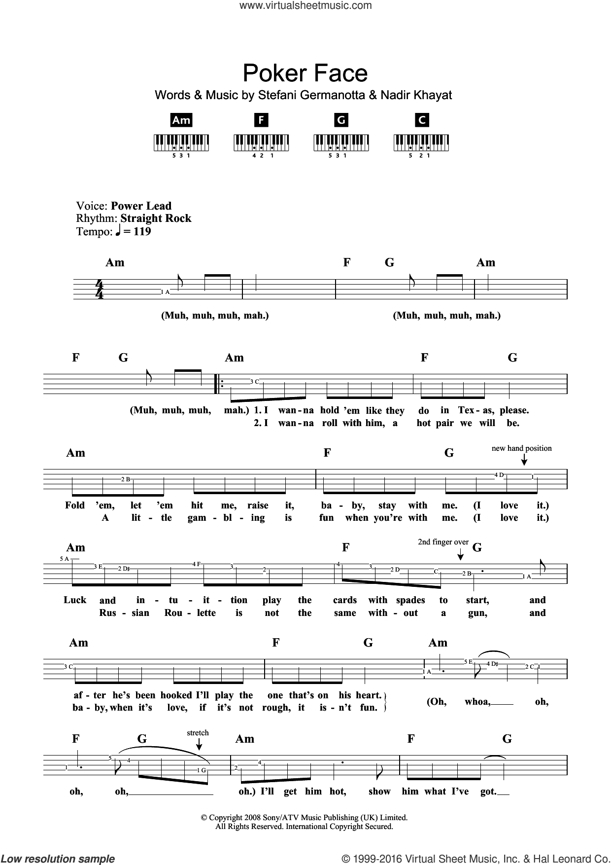 Poker Face sheet music for piano solo (chords, lyrics, melody) by Lady Gaga. Score Image Preview.