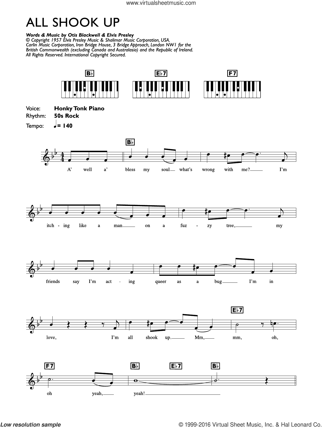 All Shook Up sheet music for piano solo (chords, lyrics, melody) by Elvis Presley and Otis Blackwell, intermediate piano (chords, lyrics, melody). Score Image Preview.