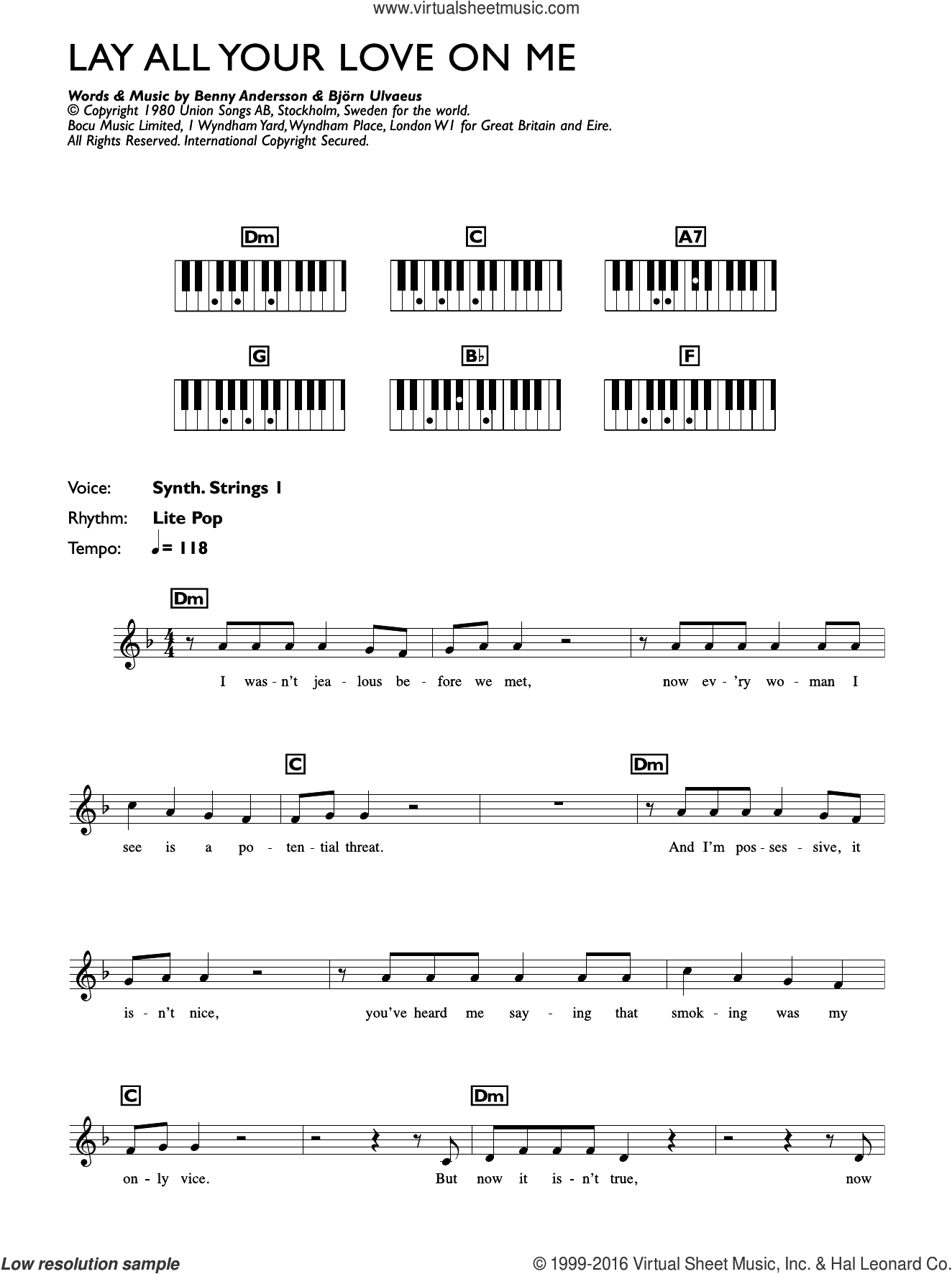 Lay All Your Love On Me sheet music for piano solo (chords, lyrics, melody) by Bjorn Ulvaeus