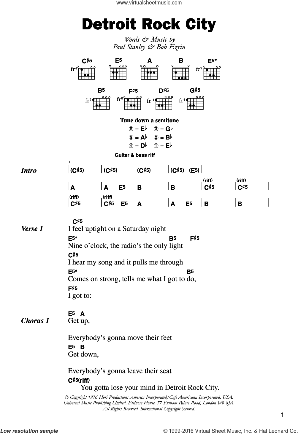 Detroit Rock City sheet music for guitar (chords) by KISS, Bob Ezrin and Paul Stanley, intermediate skill level