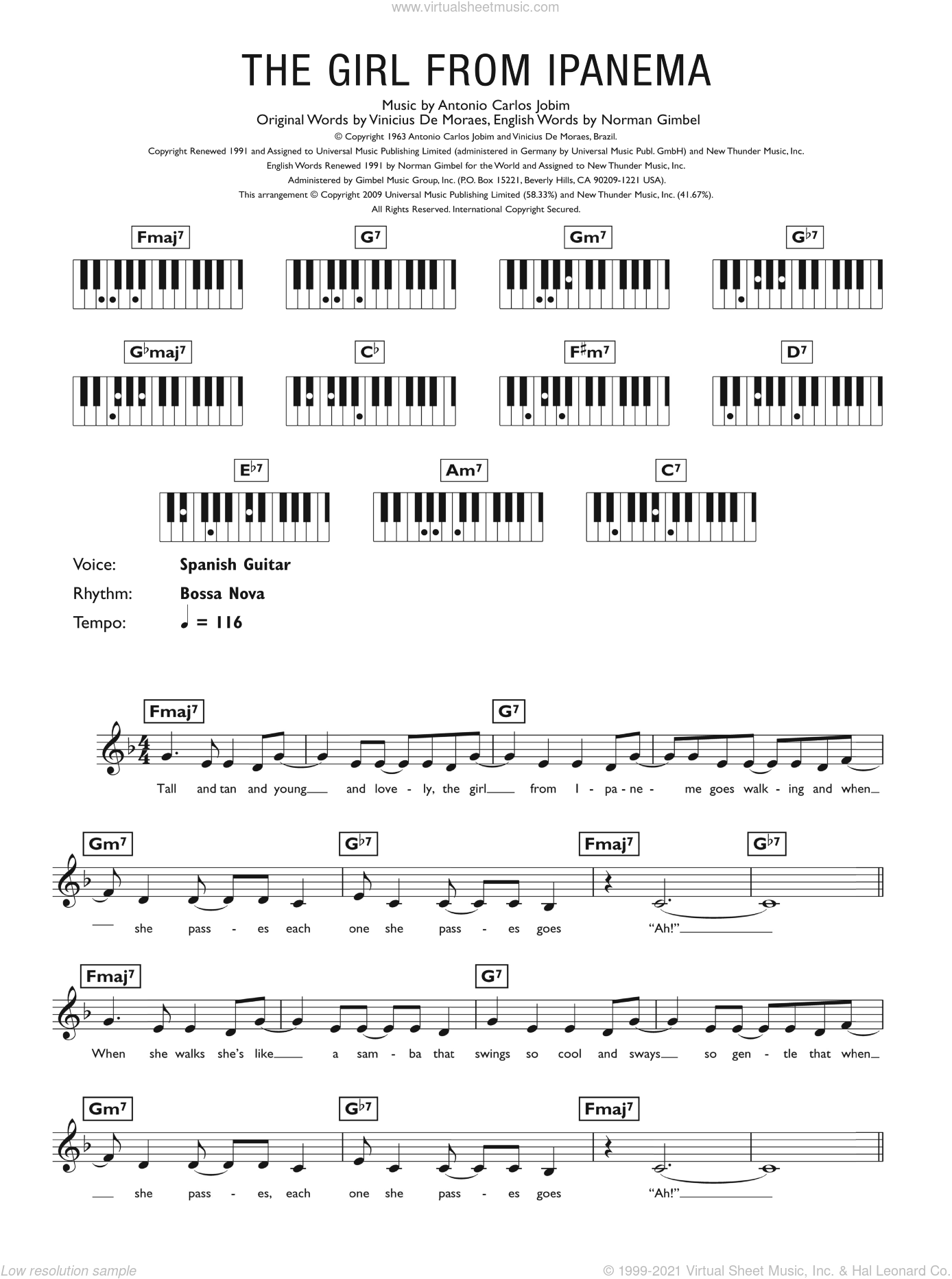 The Girl From Ipanema (Garota De Ipanema) sheet music for piano solo (chords, lyrics, melody) by Vinicius de Moraes, Antonio Carlos Jobim and Norman Gimbel. Score Image Preview.