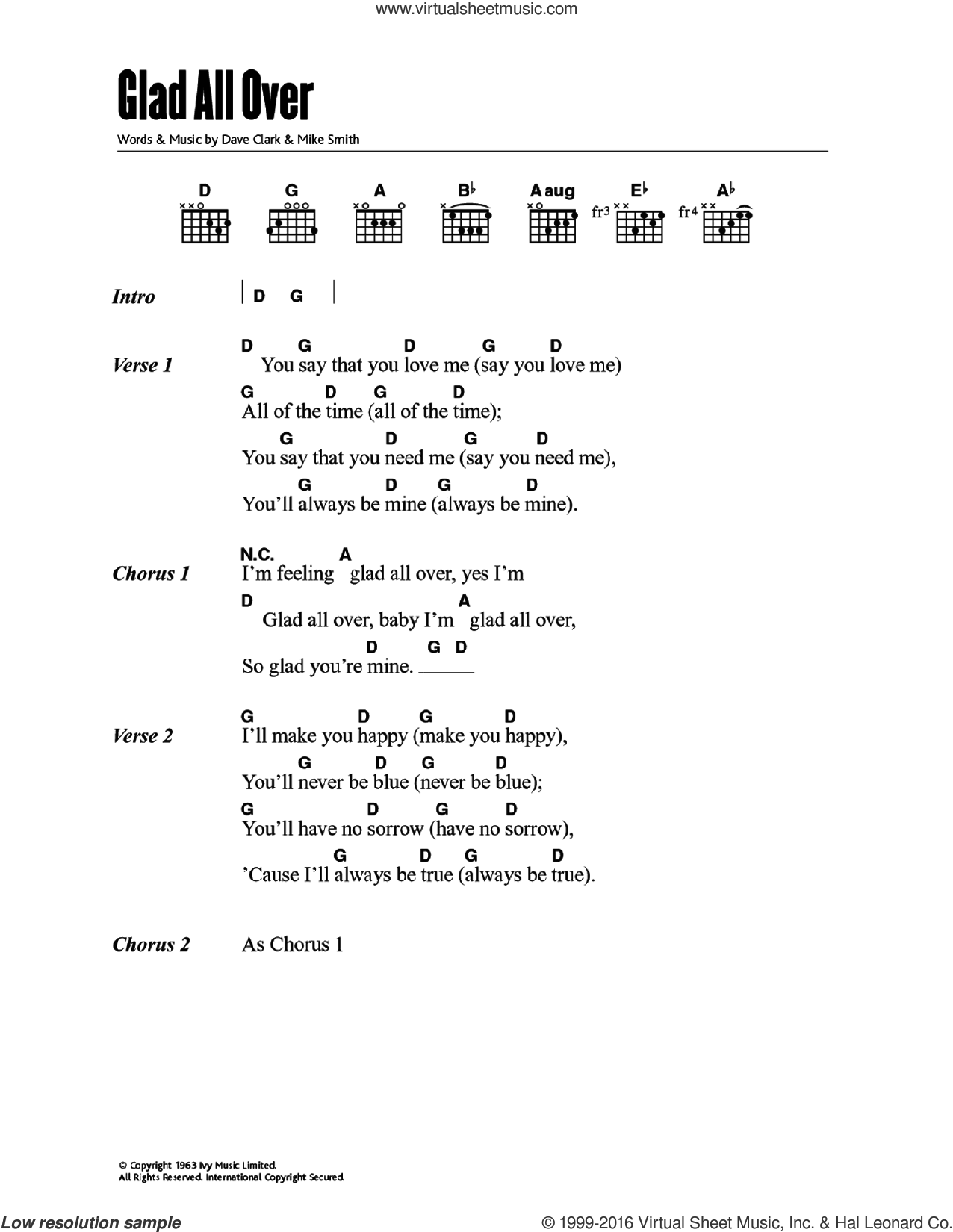 Glad All Over sheet music for guitar (chords) by The Dave Clark Five, Dave Clark and Michael W. Smith, intermediate skill level