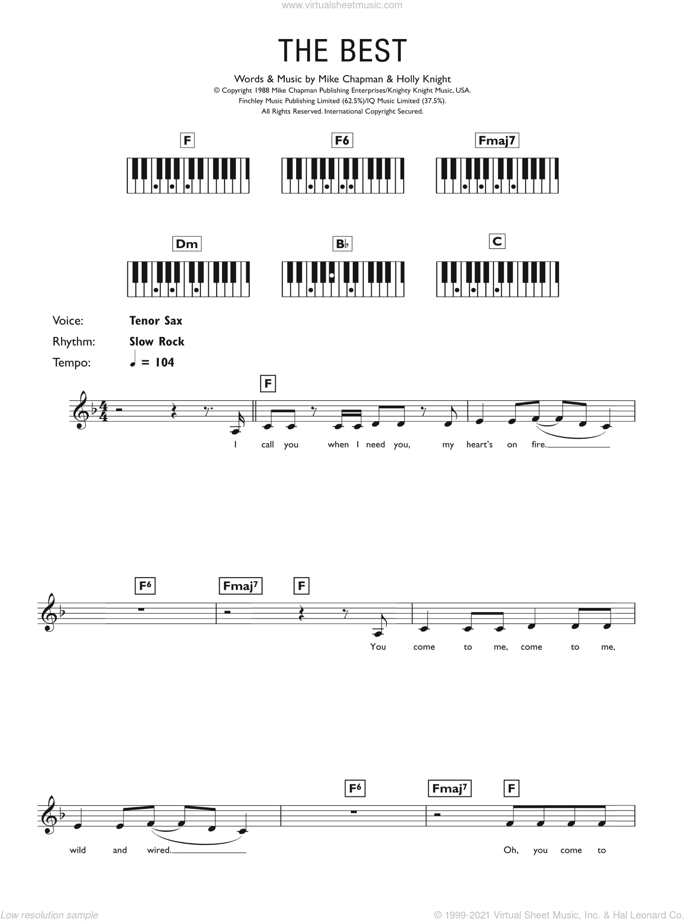 (Simply) The Best sheet music for piano solo (chords, lyrics, melody) by Mike Chapman, Tina Turner and Holly Knight. Score Image Preview.