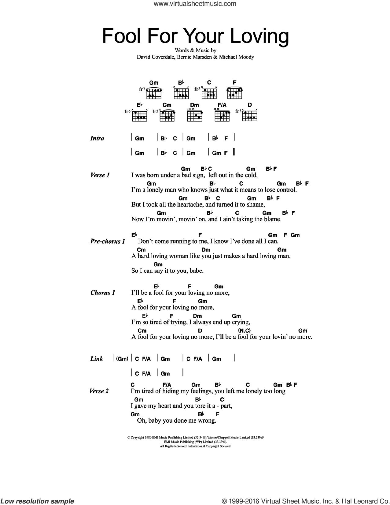 Fool For Your Loving sheet music for guitar (chords) by Whitesnake, Bernie Marsden, David Coverdale and Michael Moody, intermediate skill level