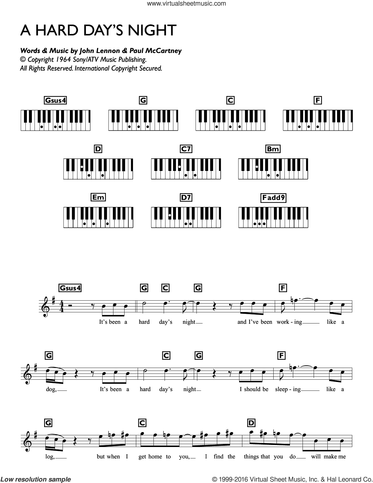 A Hard Day's Night sheet music for piano solo (chords, lyrics, melody) by The Beatles, John Lennon and Paul McCartney. Score Image Preview.