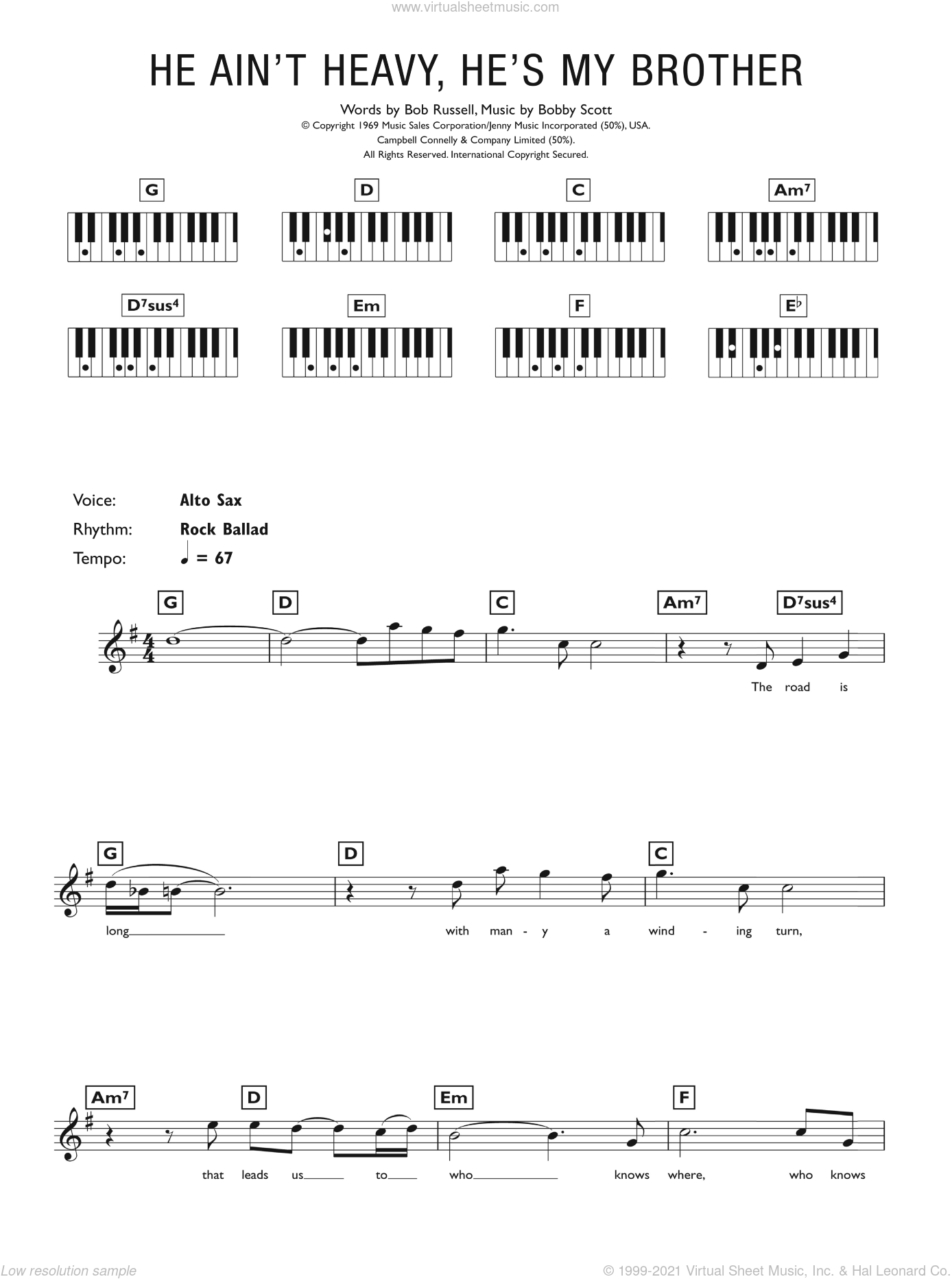 He Ain't Heavy, He's My Brother sheet music for piano solo (chords, lyrics, melody) by The Hollies, Bob Russell and Bobby Scott, intermediate piano (chords, lyrics, melody)