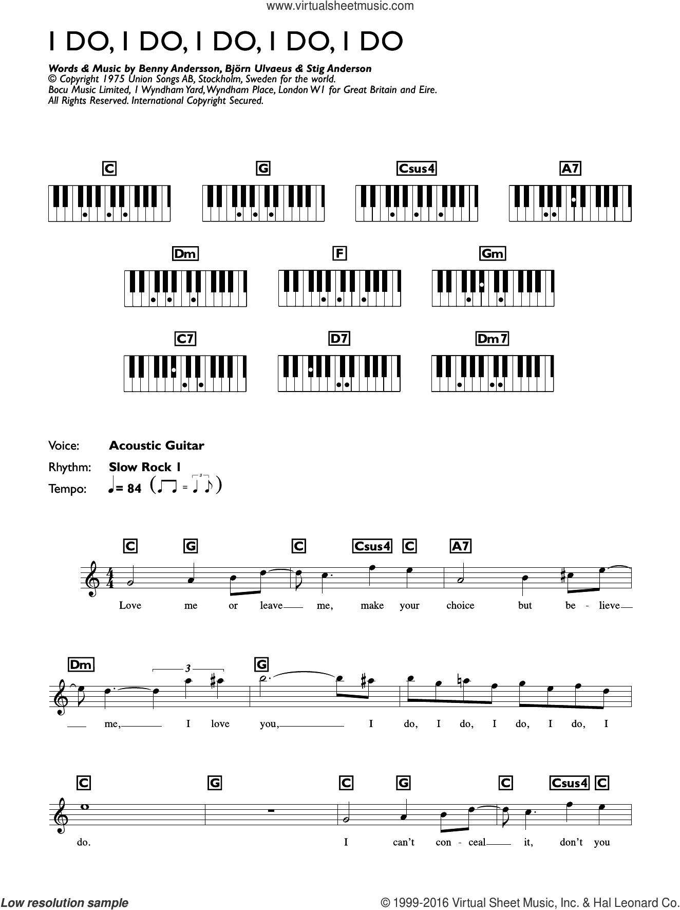 I Do, I Do, I Do, I Do, I Do sheet music for piano solo (chords, lyrics, melody) by ABBA, Benny Andersson, Bjorn Ulvaeus and Stig Anderson, intermediate piano (chords, lyrics, melody)