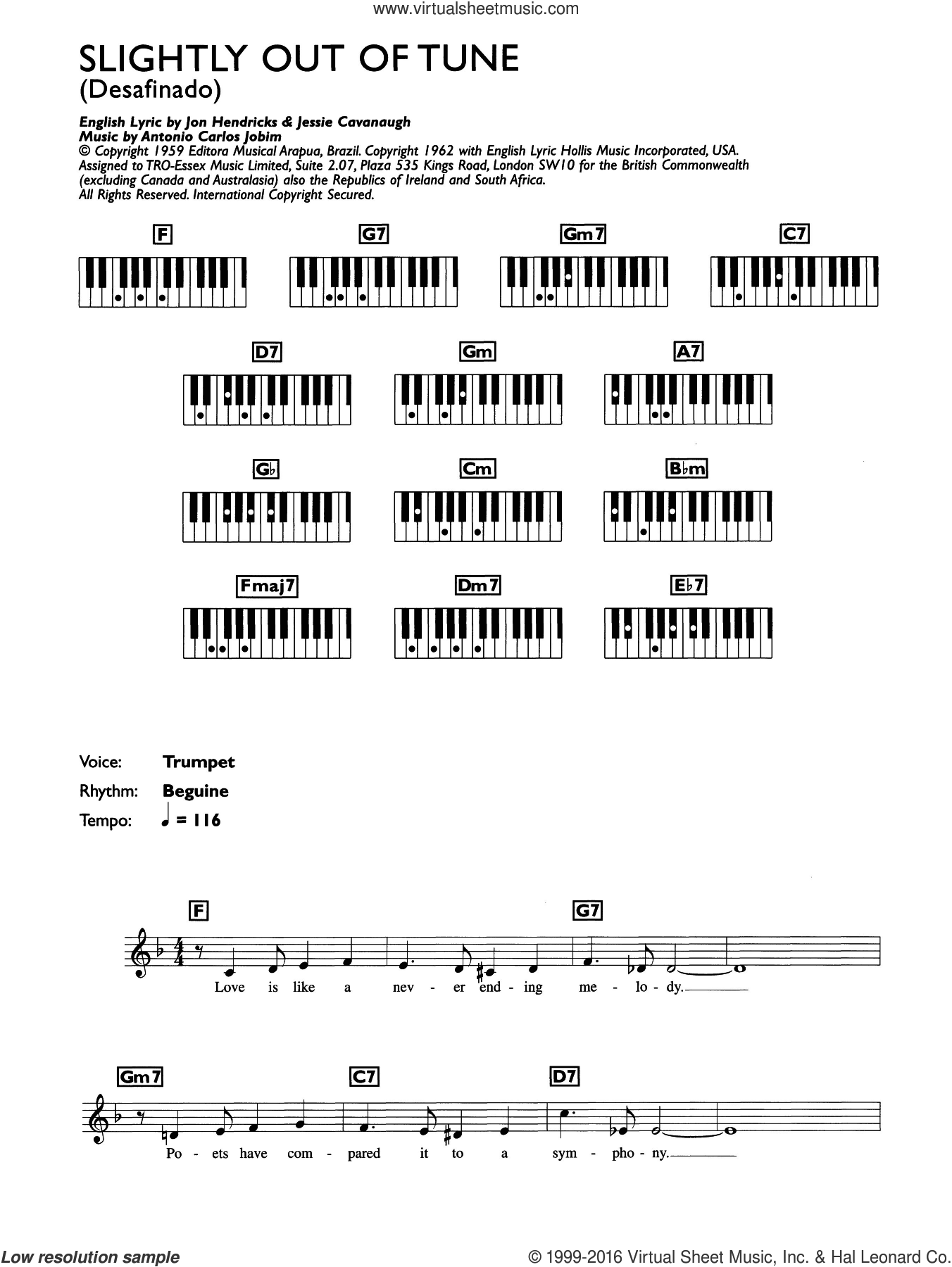 Desafinado (Slightly Out Of Tune) sheet music for piano solo (chords, lyrics, melody) by Antonio Carlos Jobim and Jon Hendricks, intermediate piano (chords, lyrics, melody). Score Image Preview.