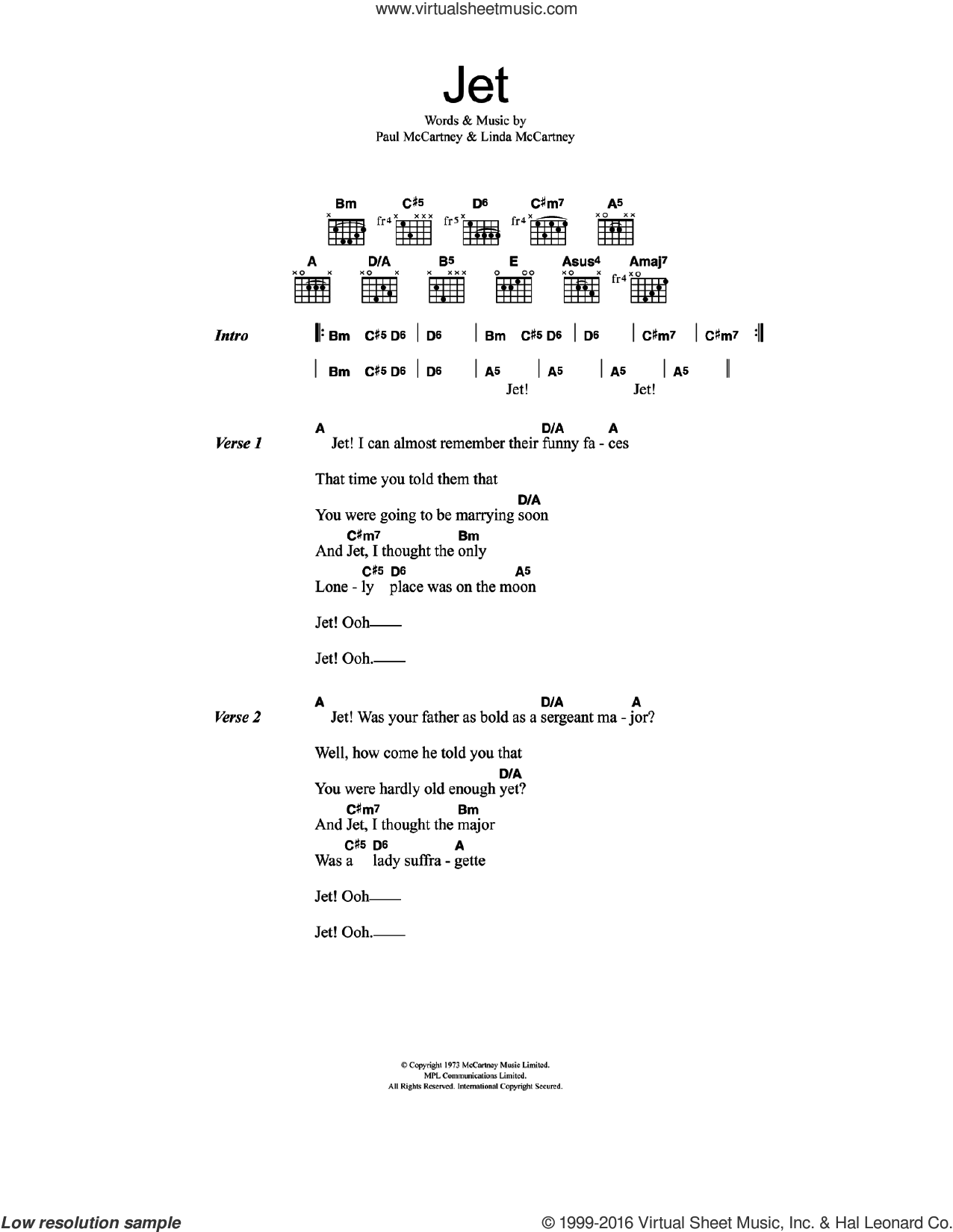 Jet sheet music for guitar (chords) by Linda McCartney, Paul McCartney and Wings. Score Image Preview.