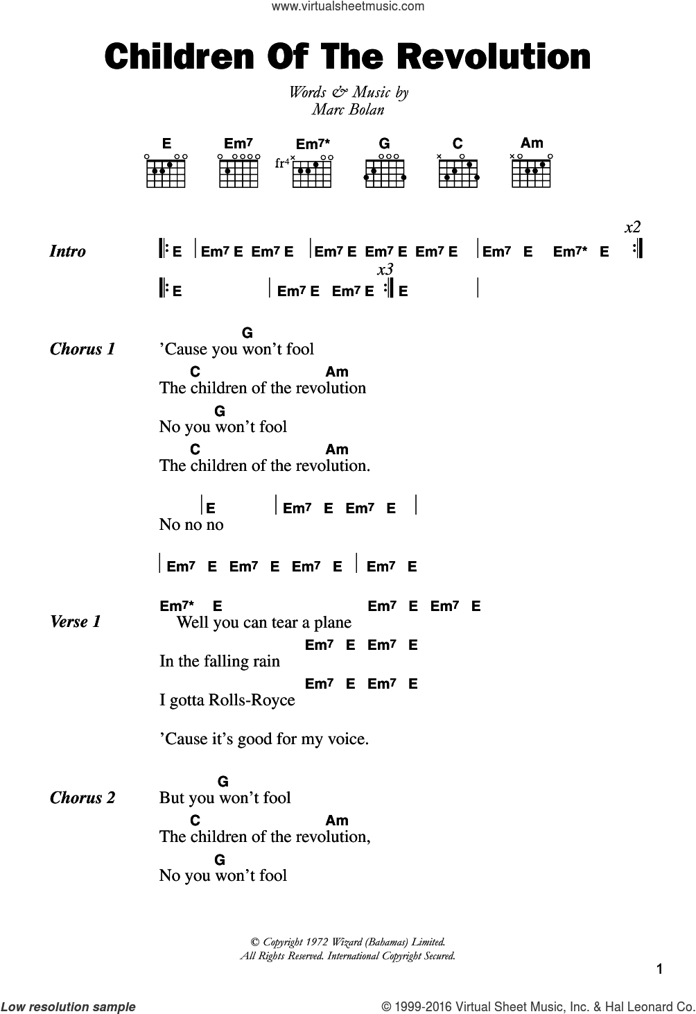 Children Of The Revolution sheet music for guitar (chords) by T Rex. Score Image Preview.