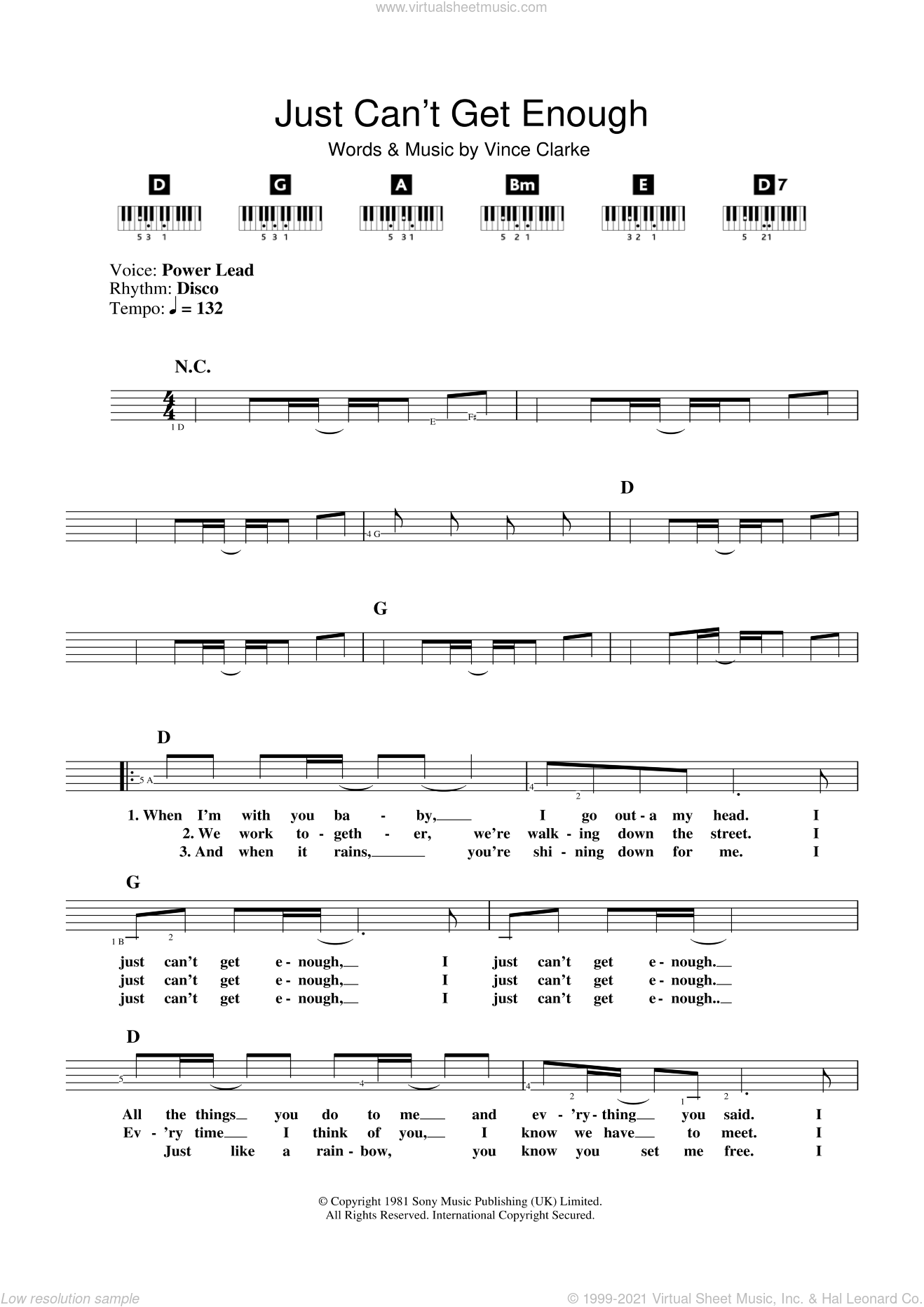 Just Can't Get Enough sheet music for piano solo (chords, lyrics, melody) by The Saturdays and Vince Clarke, intermediate piano (chords, lyrics, melody)