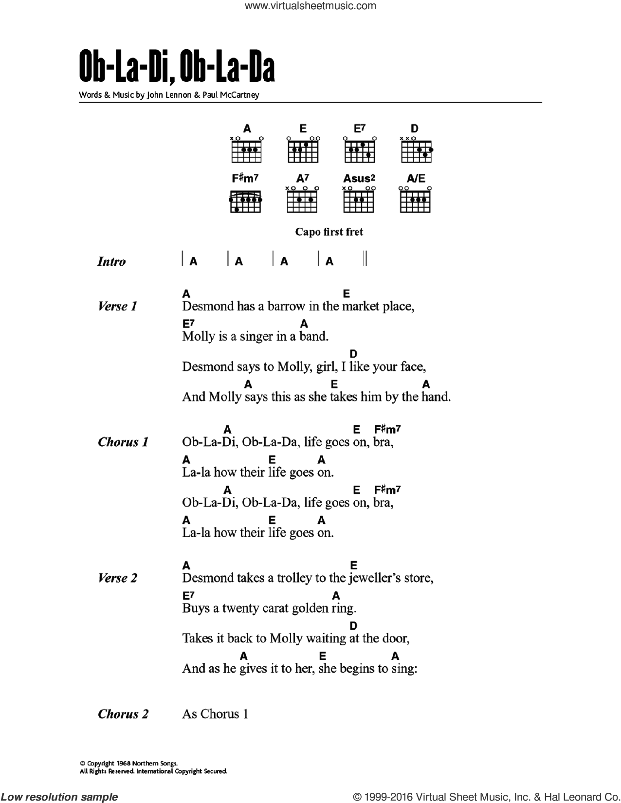 Ob-La-Di, Ob-La-Da sheet music for guitar (chords) by John Lennon, Paul McCartney and The Beatles. Score Image Preview.