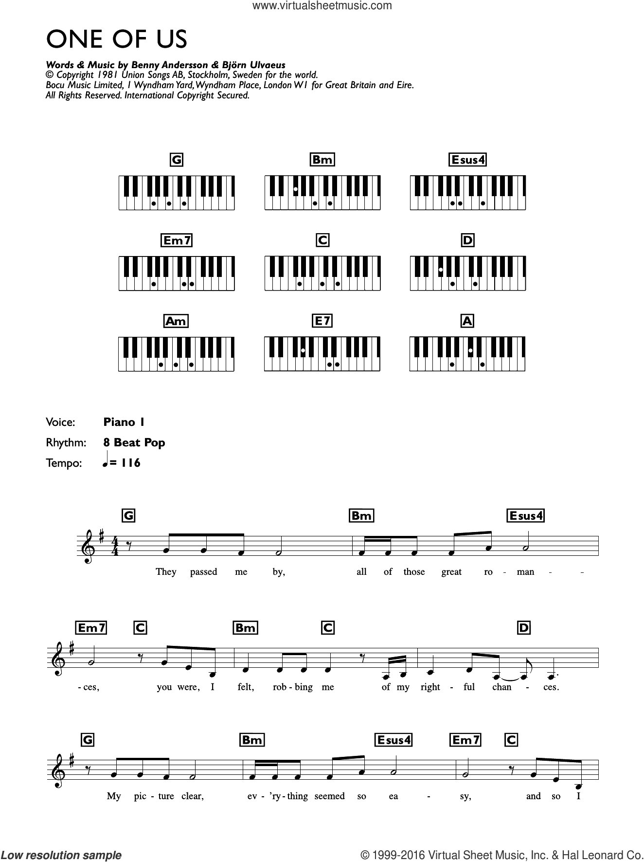 One Of Us sheet music for piano solo (chords, lyrics, melody) by Bjorn Ulvaeus, ABBA and Benny Andersson. Score Image Preview.